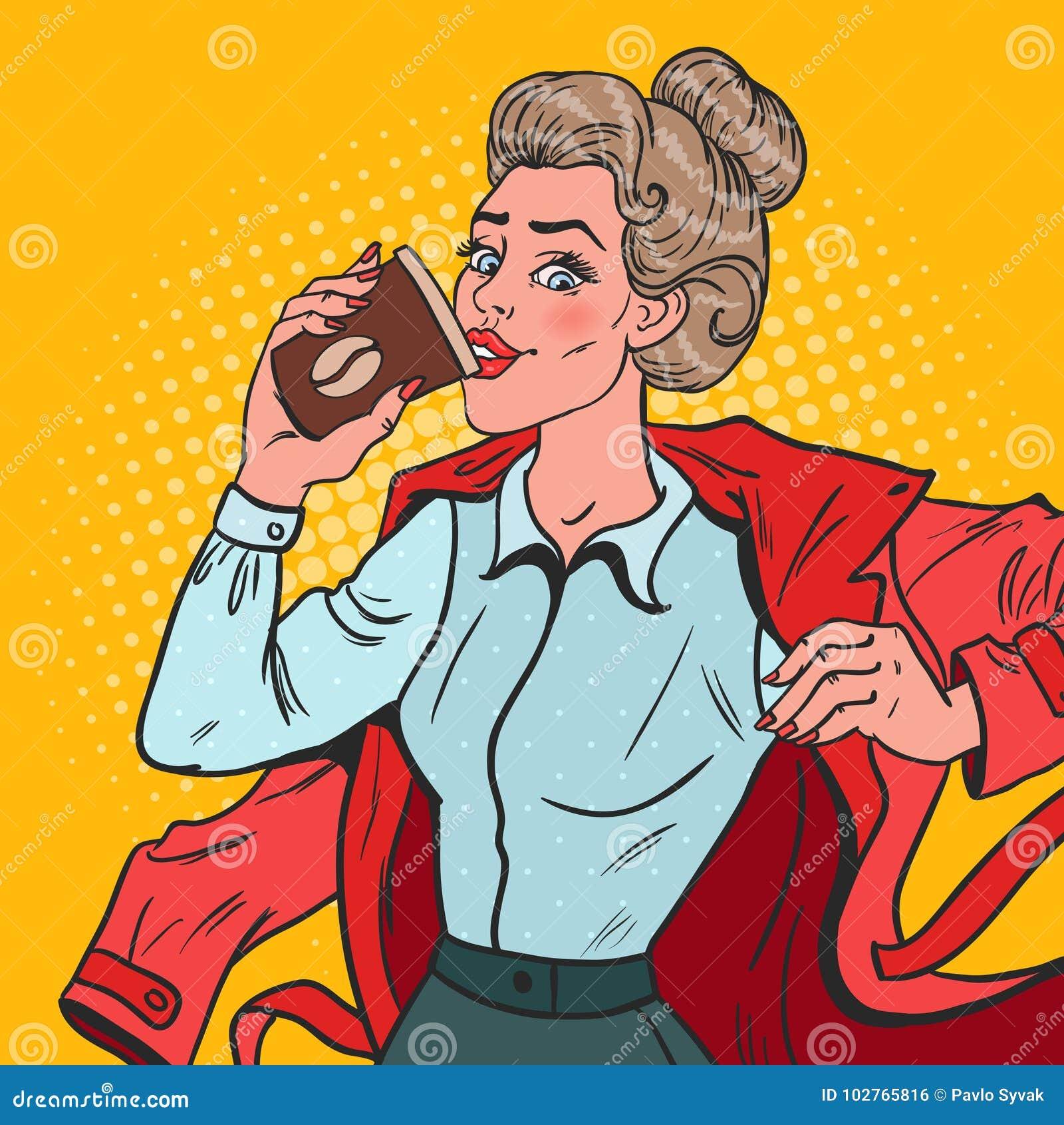 Λαϊκή επιχειρησιακή γυναίκα τέχνης αργά στην εργασία Πολυάσχολο κορίτσι με τον καφέ πρωινού