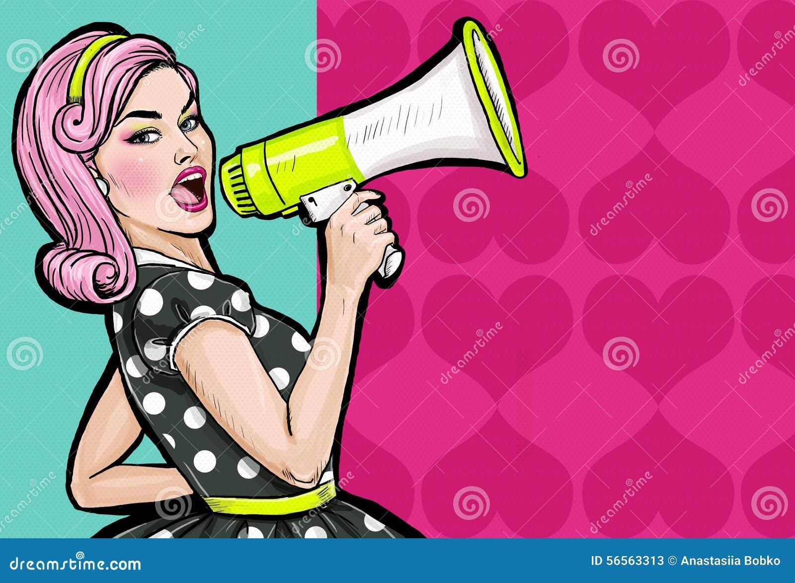 Download Λαϊκό κορίτσι τέχνης με Megaphone Γυναίκα με το μεγάφωνο Κορίτσι που αναγγέλλει την έκπτωση ή την πώληση χρονικός καθολικός Ιστός Απεικόνιση αποθεμάτων - εικονογραφία από δικαιώματα, κορίτσι: 56563313