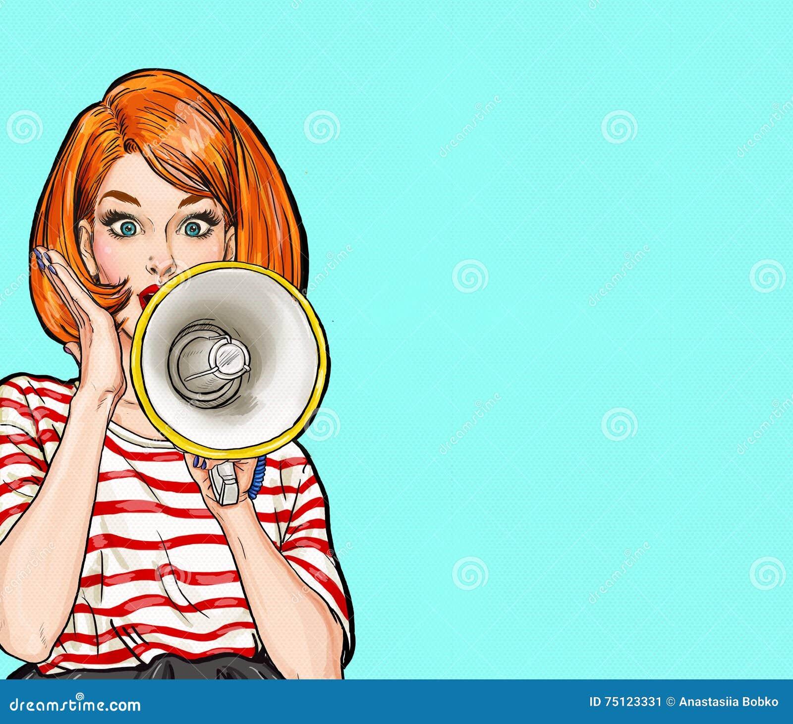 Λαϊκό κορίτσι τέχνης με megaphone Γυναίκα με το μεγάφωνο Κορίτσι που αναγγέλλει την έκπτωση ή την πώληση χρονικός καθολικός Ιστός