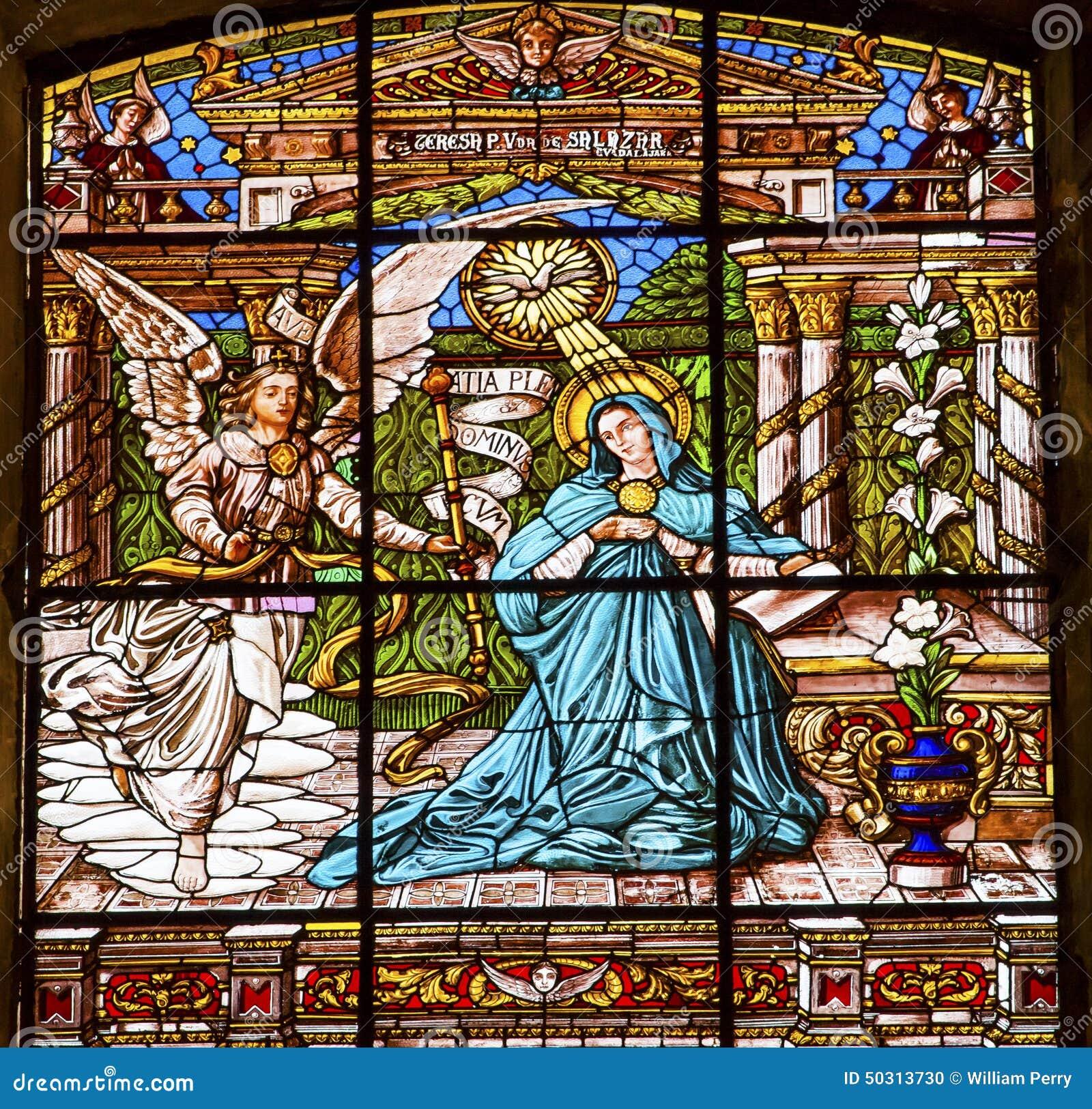 Λεκιασμένη Annunciation παλαιά βασιλική Guadalupw Πόλη του Μεξικού Μεξικό γυαλιού
