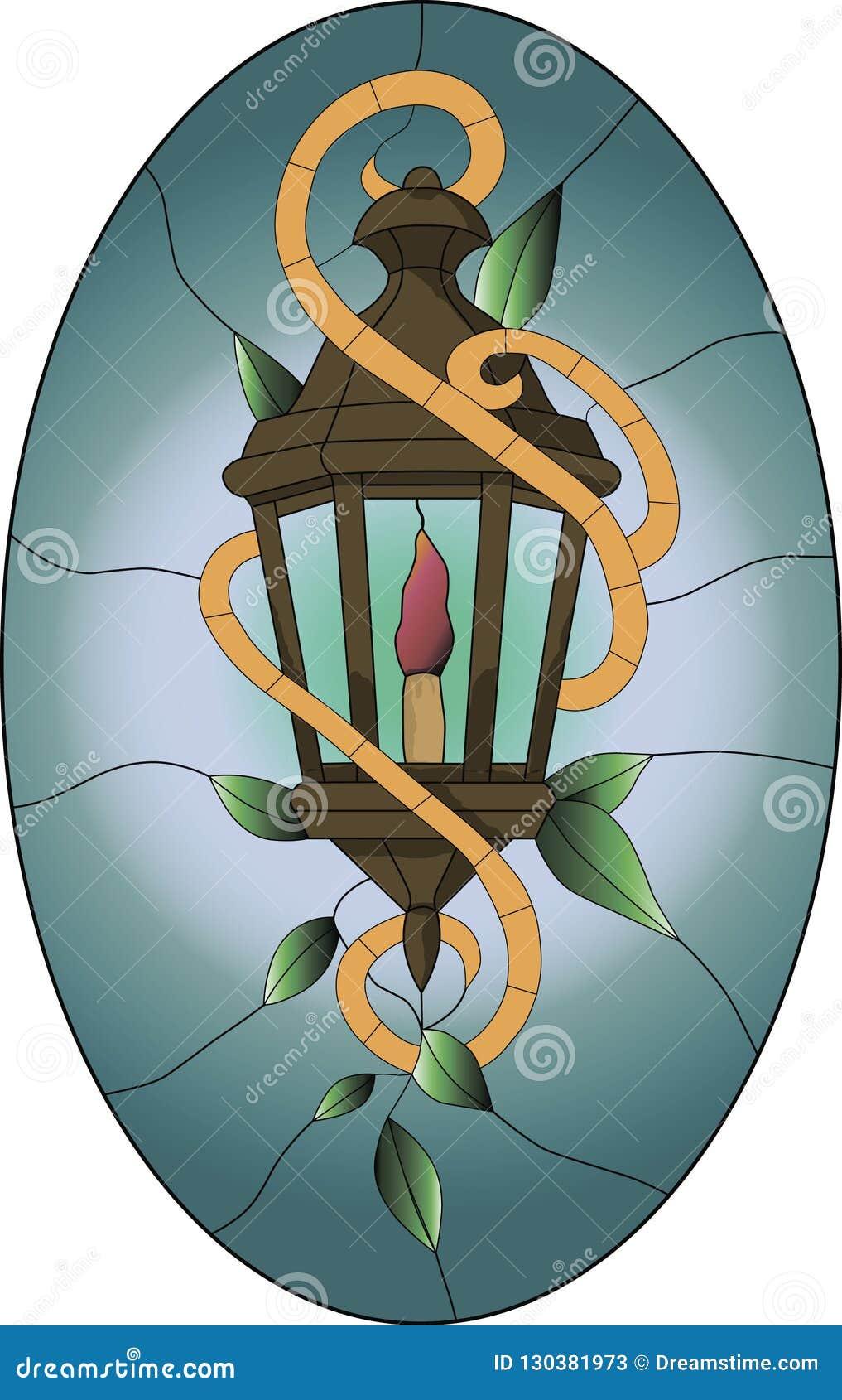 Λεκιασμένο σχέδιο γυαλιού του παλαιού καφετιού φαναριού με τα πράσινα φύλλα και το ωοειδές υπόβαθρο