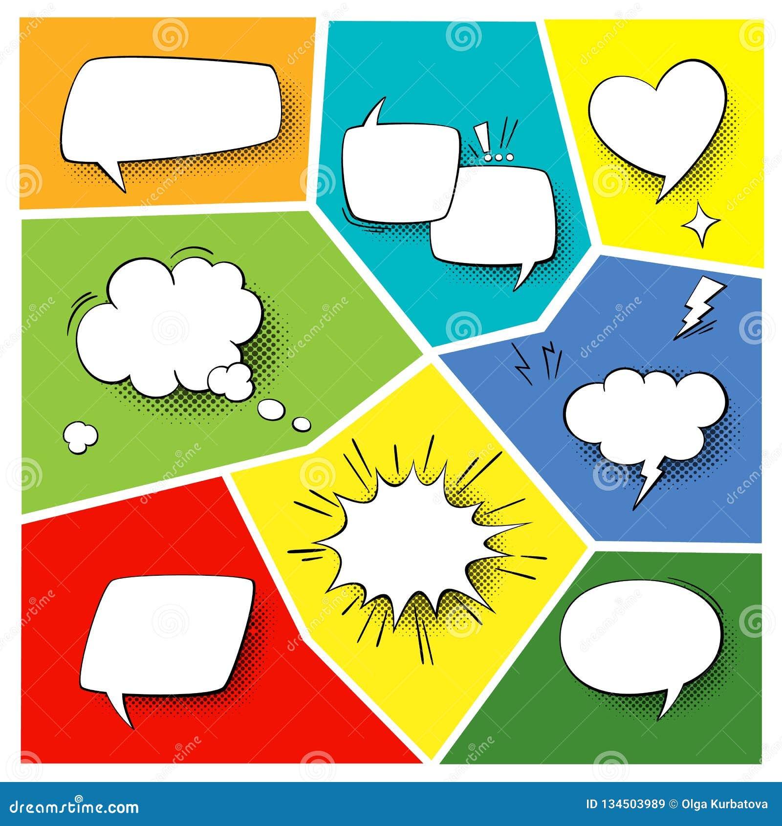 Λεκτικά popart στοιχεία Οι κωμικές μορφές κινούμενων σχεδίων για τους διαλόγους που σκέφτονται και που μιλούν επάνω τα υπόβαθρα κ