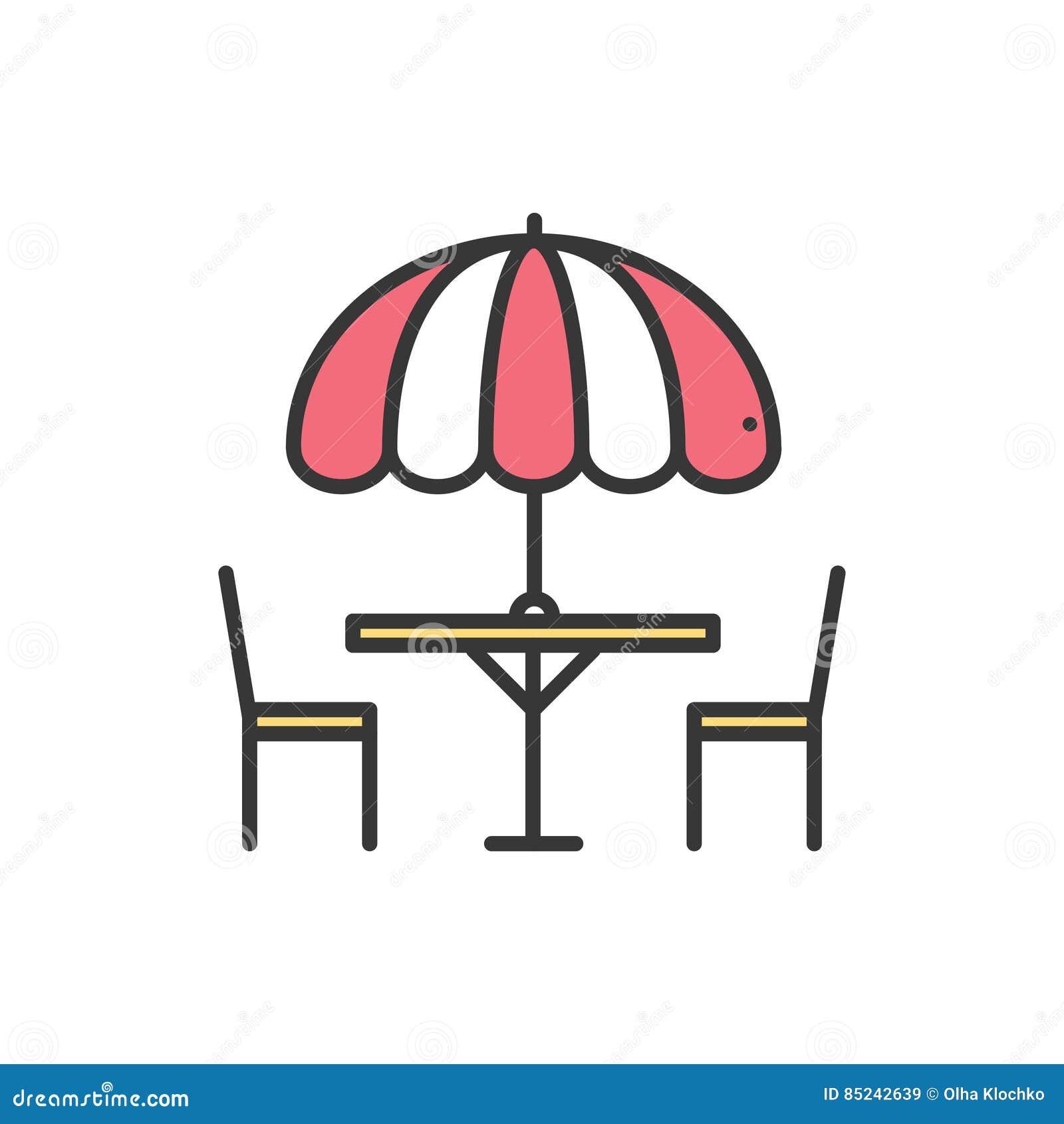 Λεπτά εικονίδια γραμμών καθορισμένα Πίνακας και καρέκλα έξω υπαίθρια Καφές οδών σκιαγραφιών, σημάδι εστιατορίων Υπηρεσία τροφίμων