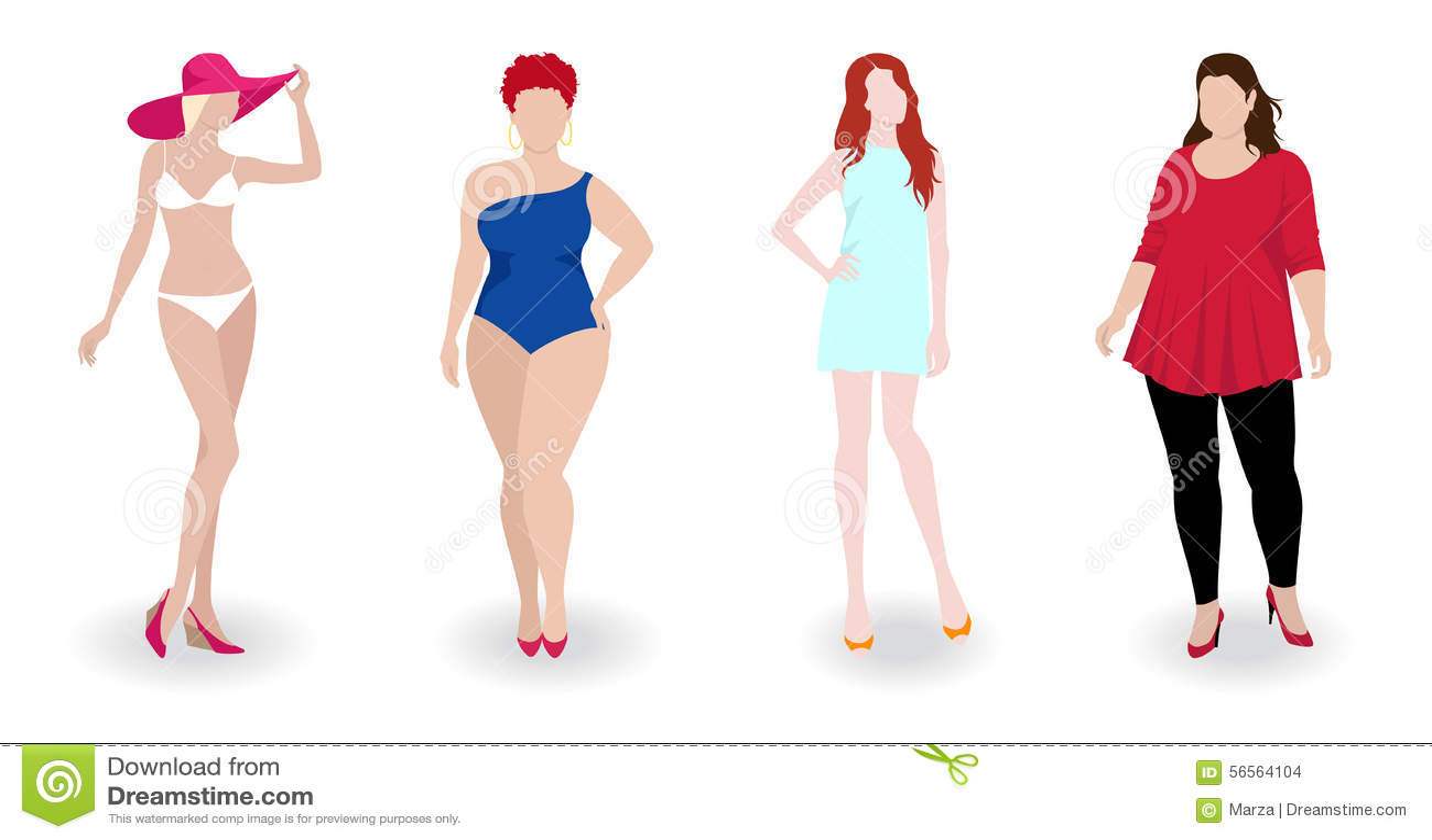 Download Λεπτές και παχιές γυναίκες μόδας Απεικόνιση αποθεμάτων - εικονογραφία από bodybuilders, μορφή: 56564104