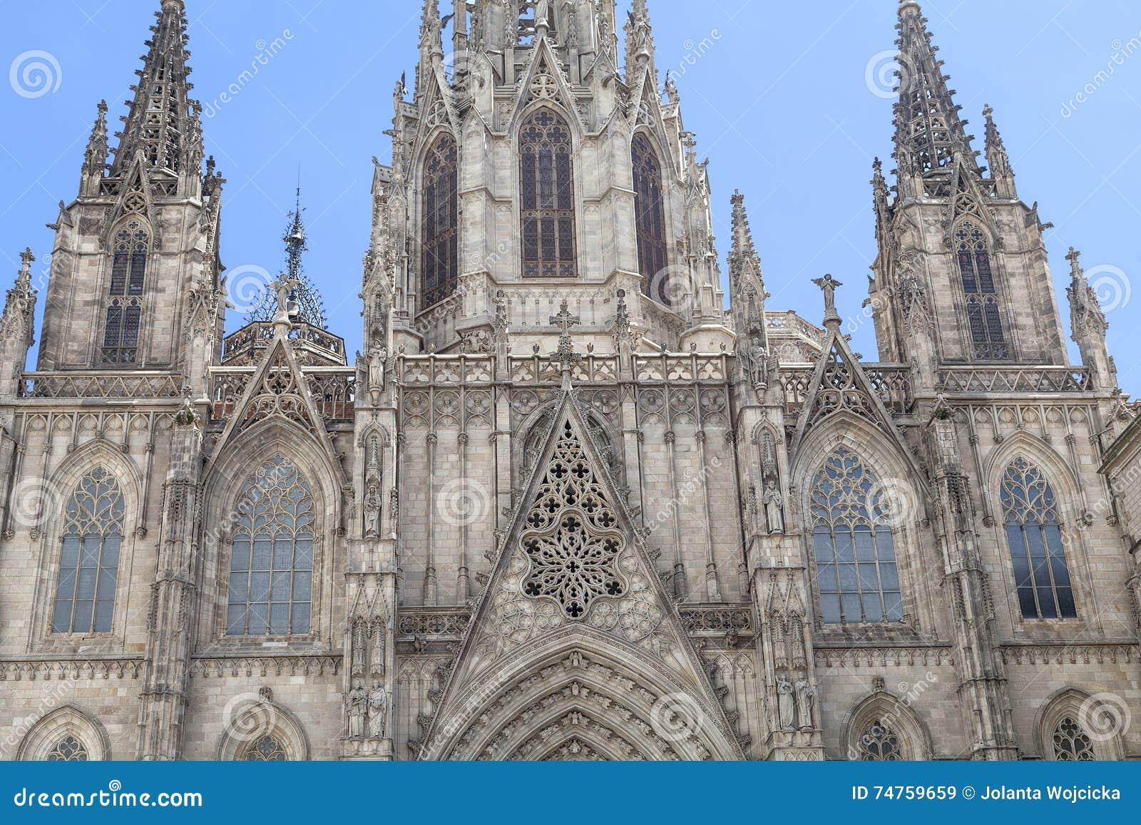 Λεπτομέρειες του καθεδρικού ναού της Βαρκελώνης στο γοτθικό τέταρτο, Ισπανία