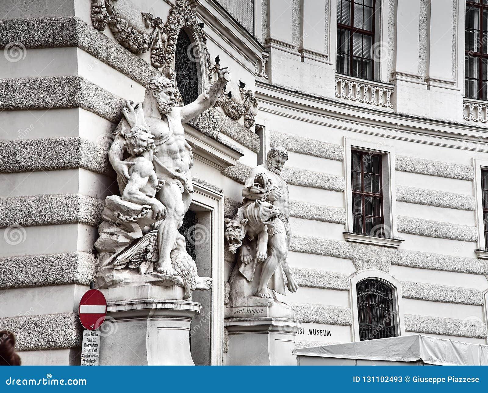Λεπτομέρειες του παλατιού Hofburg στο κέντρο πόλεων της Βιέννης