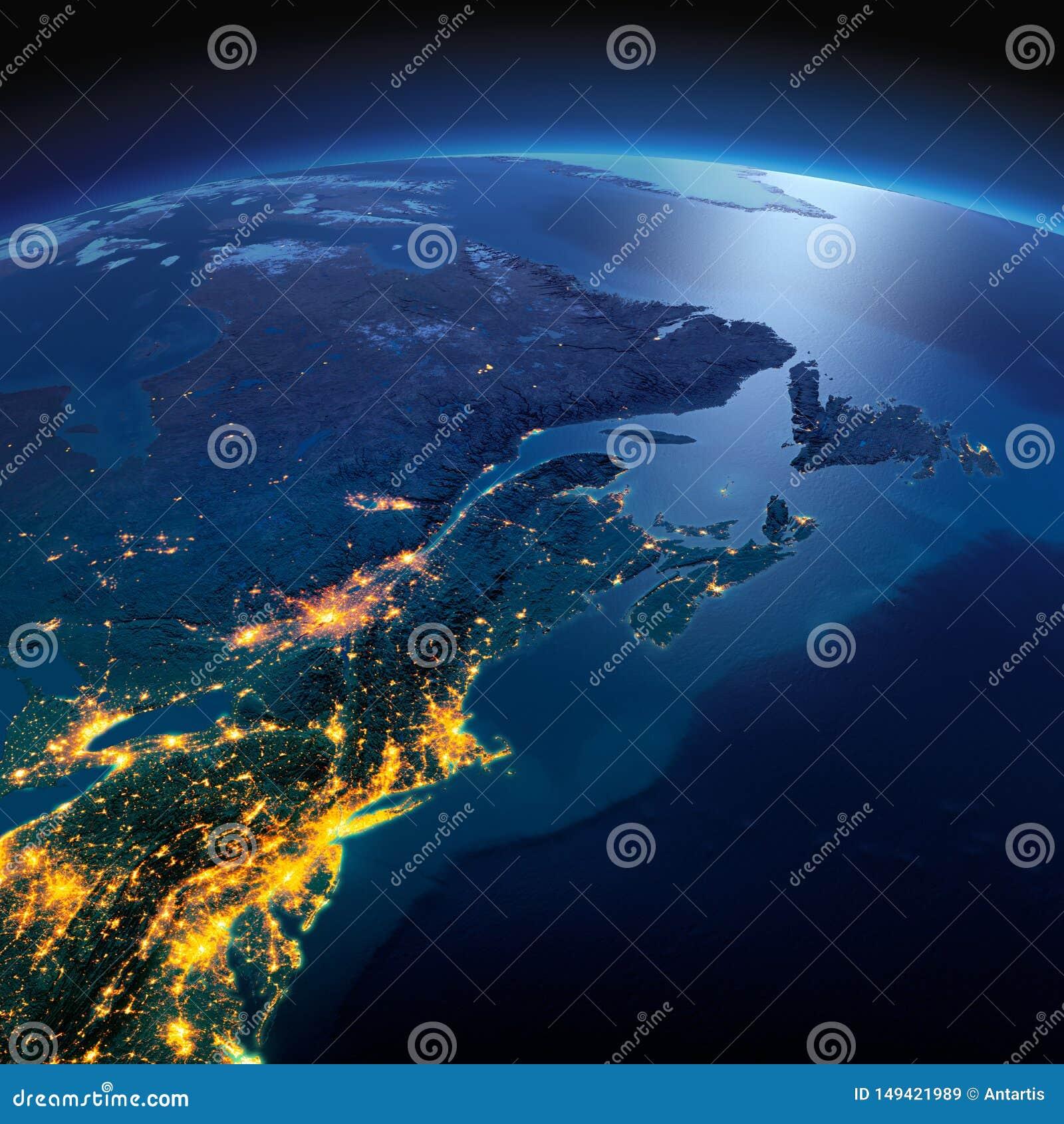 Λεπτομερής γη Βορειοανατολικά ΗΠΑ και ανατολικός Καναδάς σε μια φεγγαρόφωτη νύχτα