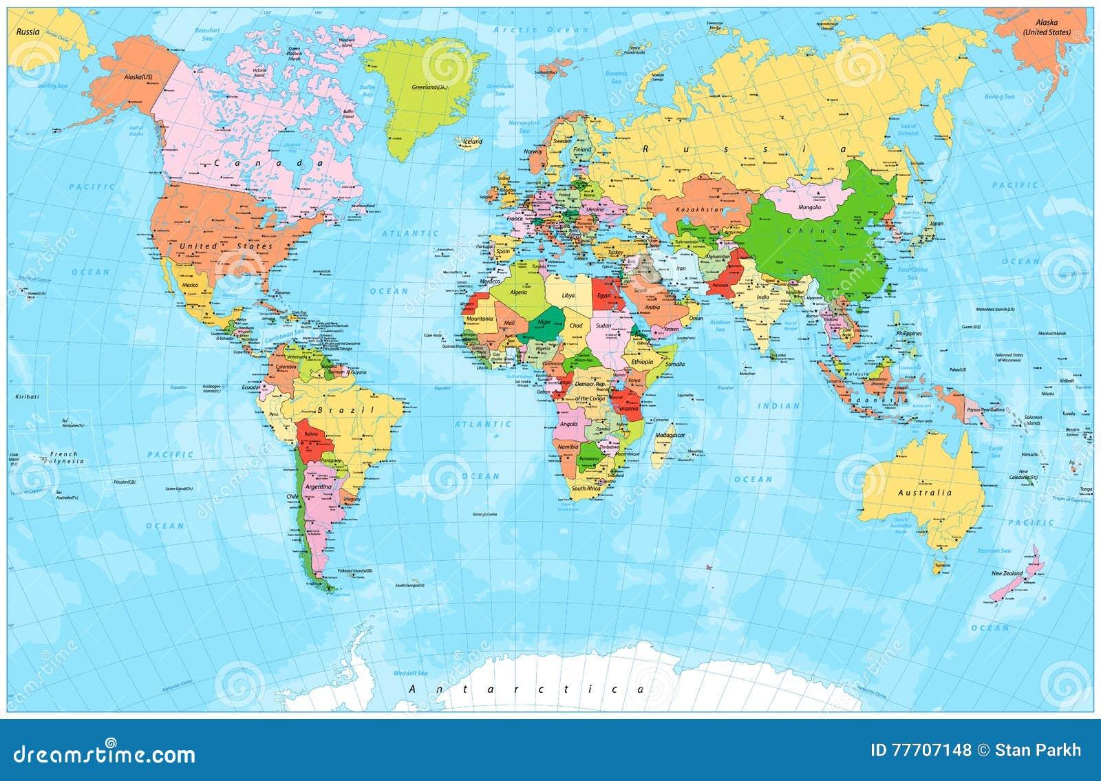 Λεπτομερής πολιτικός παγκόσμιος χάρτης με τα κεφάλαια, τους ποταμούς και τις λίμνες