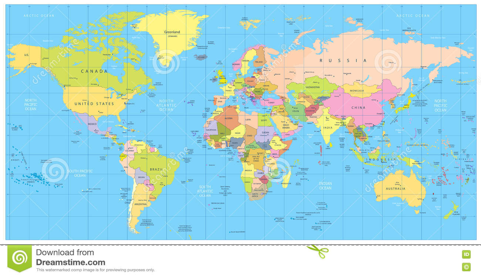 Λεπτομερής πολιτικός παγκόσμιος χάρτης: χώρες, πόλεις, αντικείμενα νερού