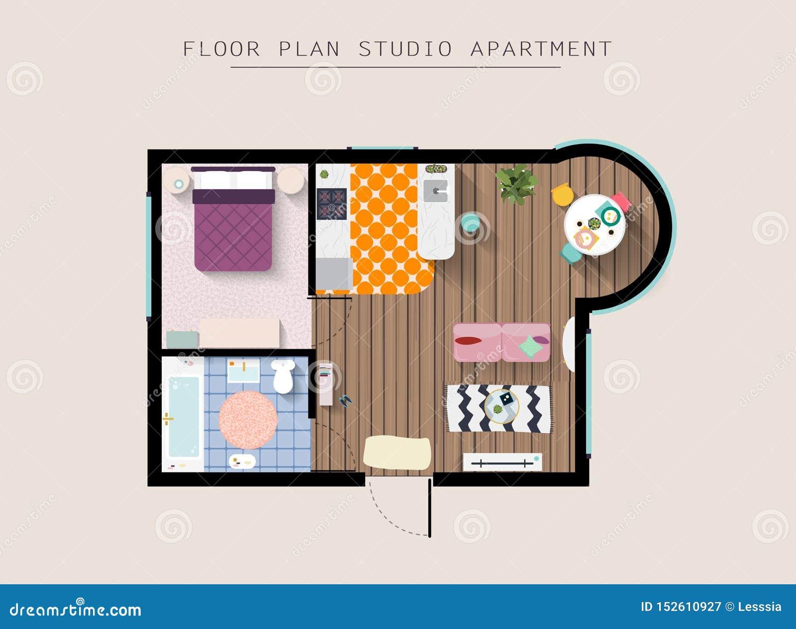 Λεπτομερής υπερυψωμένη τοπ άποψη επίπλων διαμερισμάτων Διαμέρισμα στούντιο με μια κρεβατοκάμαρα r