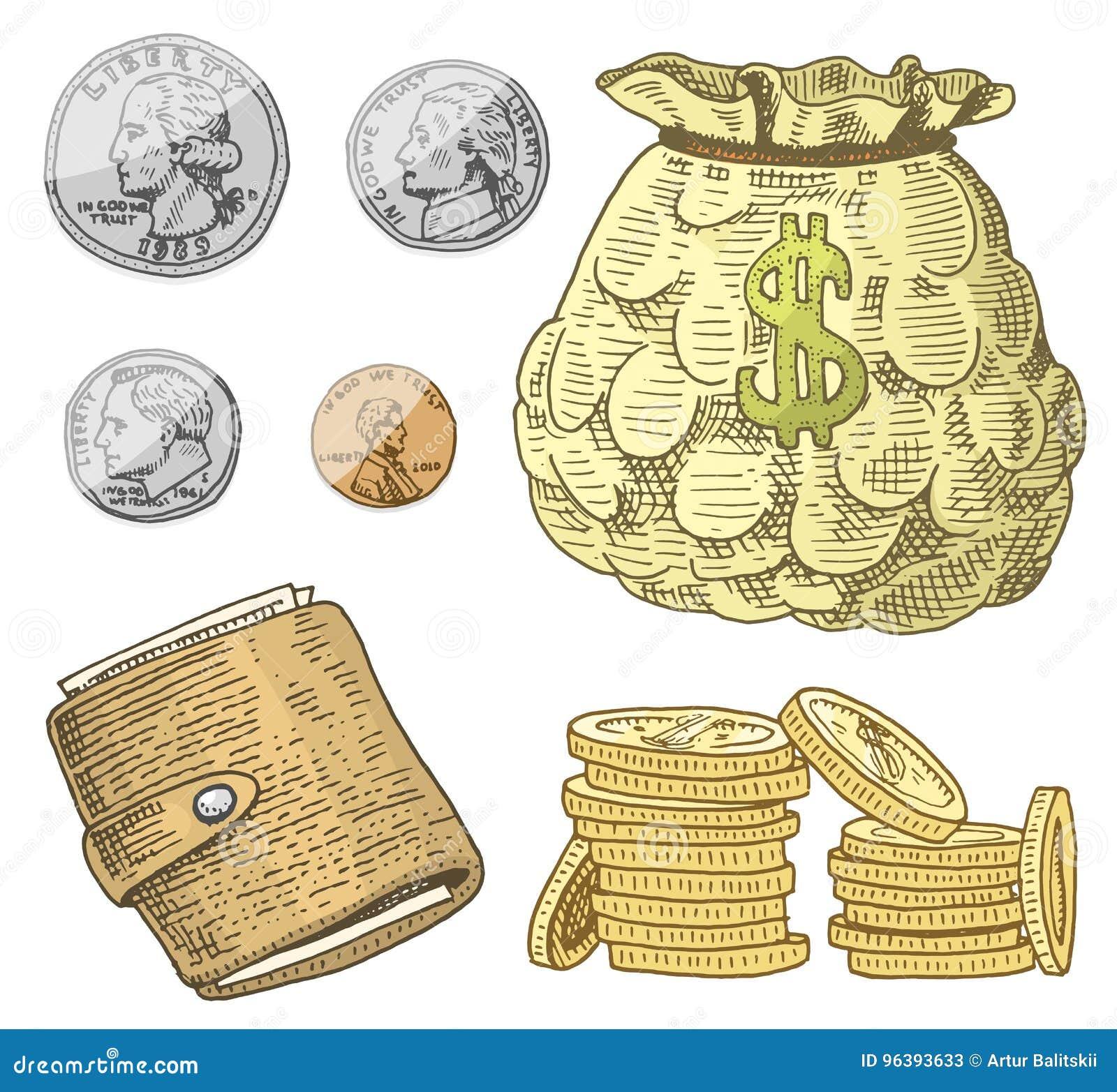 Λεπτομερή τραπεζογραμμάτια νομίσματος ή αμερικανικά πράσινα 100 δολάρια του Franklin ή μετρητά και νόμισμα χαραγμένο χέρι που σύρ