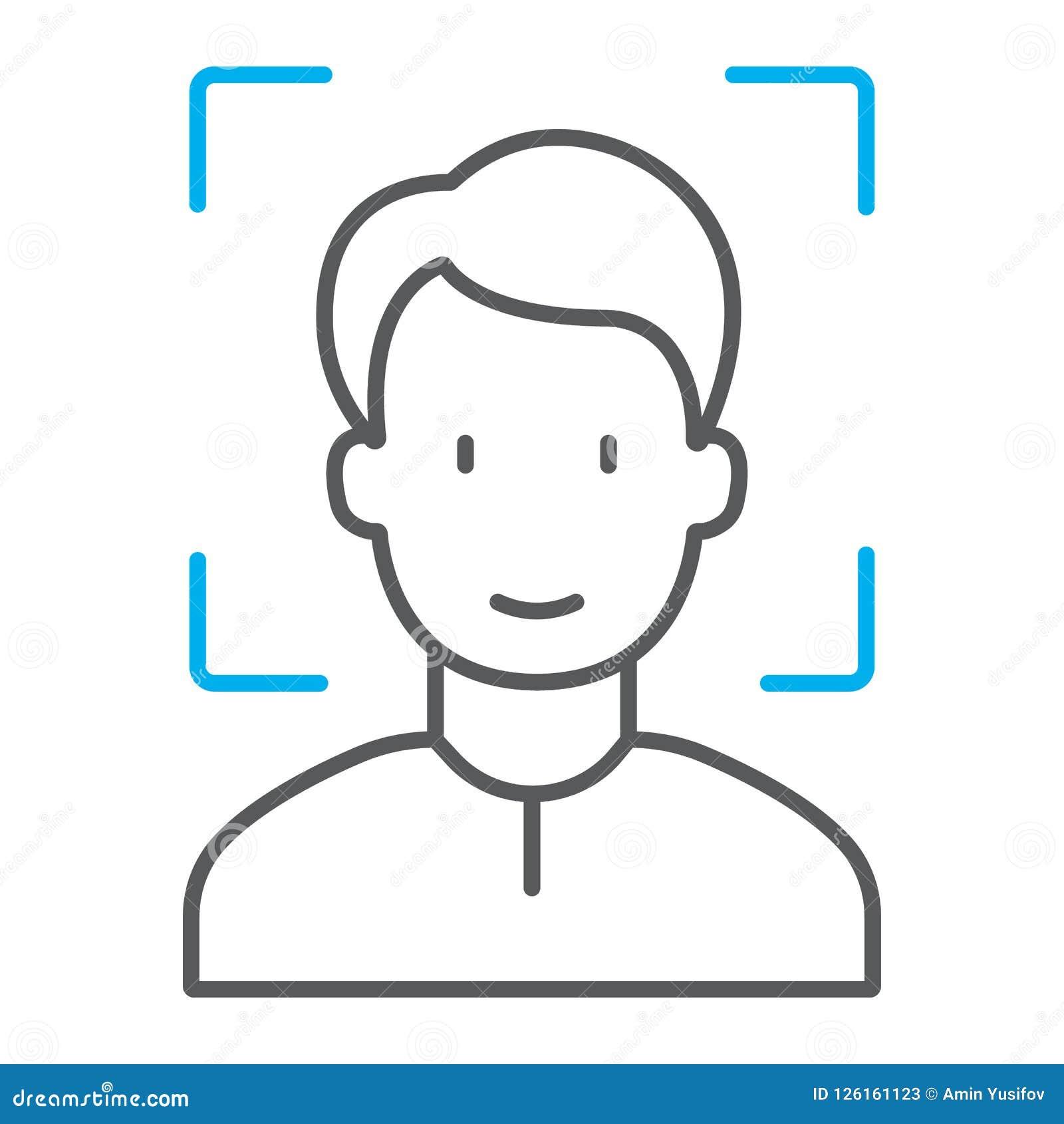 Λεπτό εικονίδιο γραμμών ταυτότητας προσώπου, αναγνώριση προσώπου
