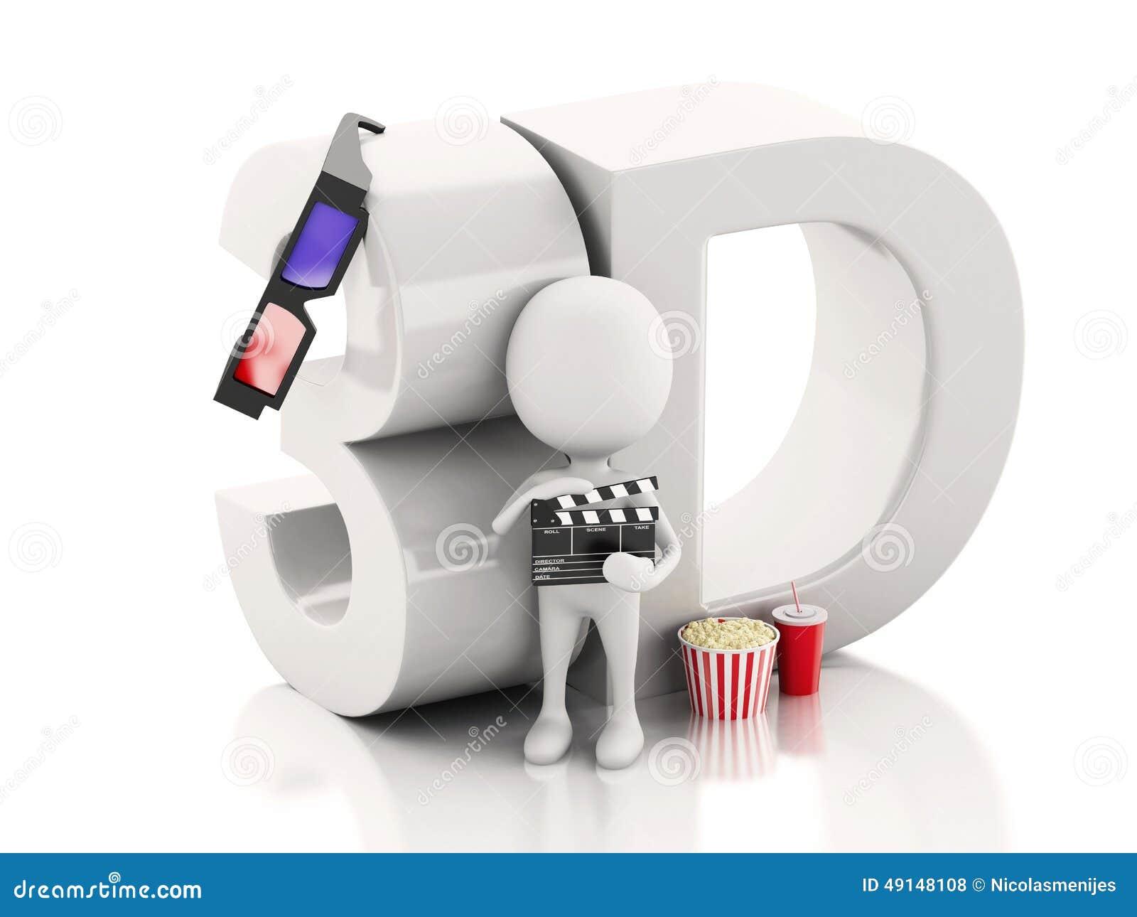 Λευκός με clapper κινηματογράφων, popcorn, το ποτό και τα τρισδιάστατα γυαλιά