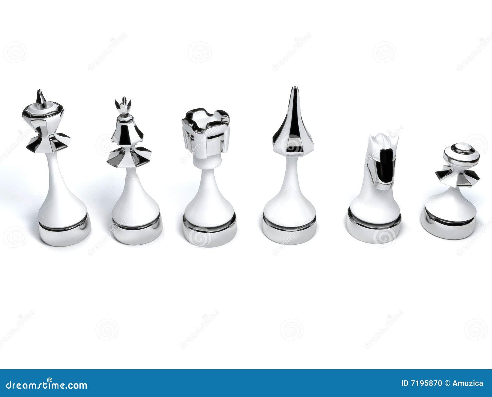 λευκό κομματιών σκακιού