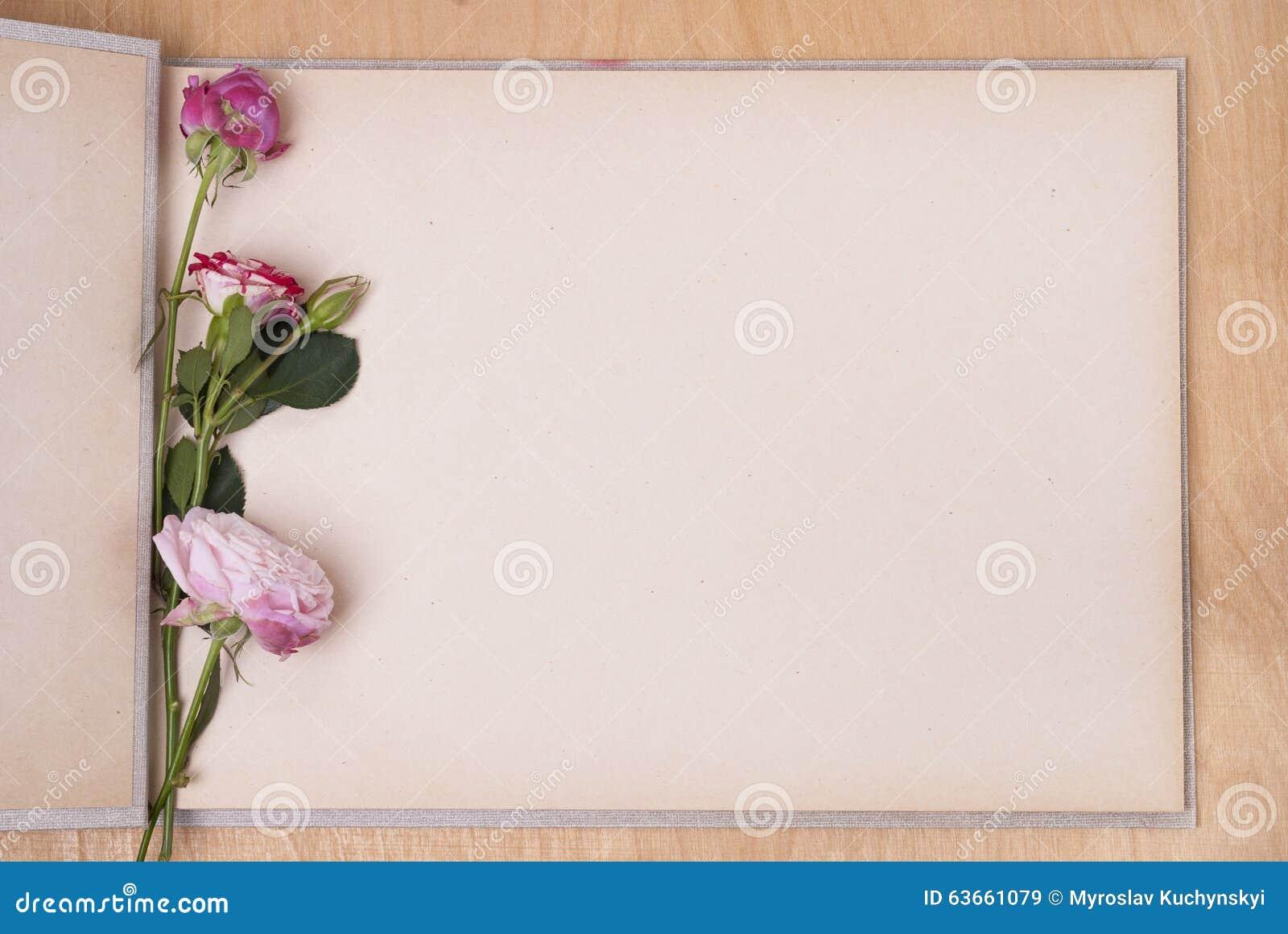 Λεύκωμα και τριαντάφυλλα φωτογραφιών