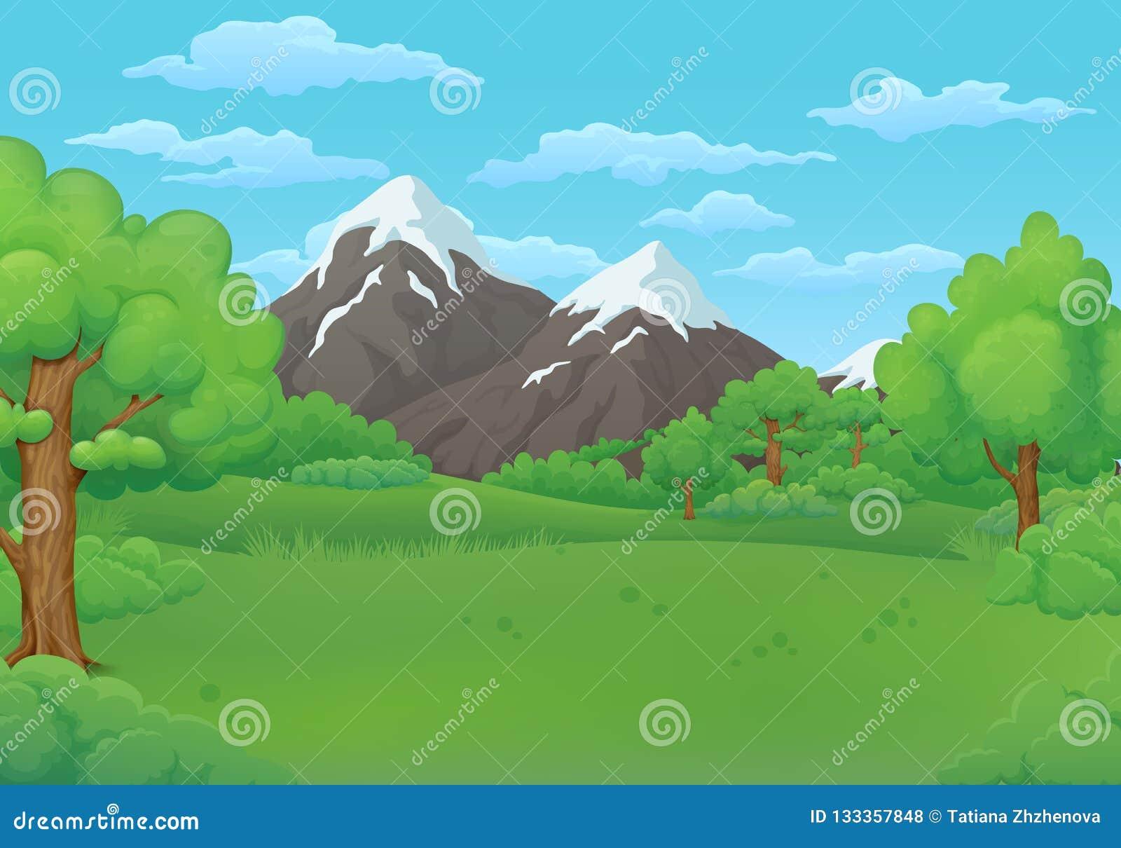 Λιβάδια θερινής ημέρας με τα πολύβλαστους πράσινους δέντρα και τους Μπους Χιονώδη βουνά στο υπόβαθρο