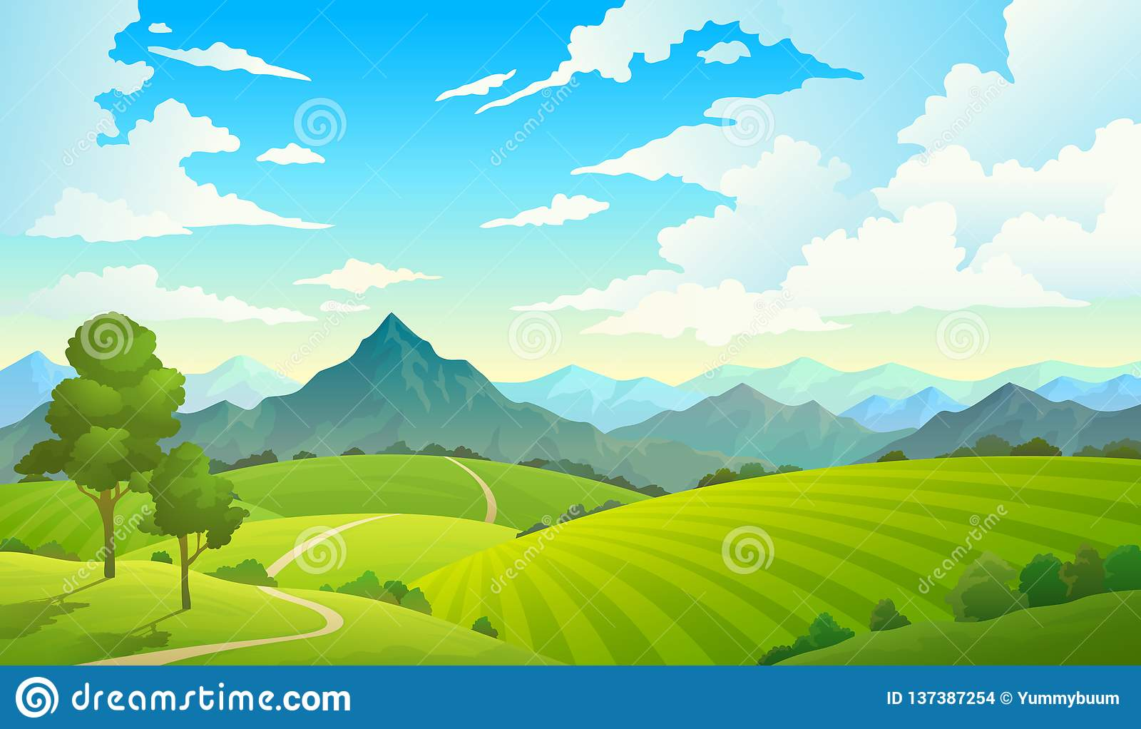 Λιβάδια με τα βουνά Τοπίων λόφων τομέων βουνών εδάφους ουρανού άγριο φύσης δέντρο επαρχίας χλόης δασικό Θερινό έδαφος