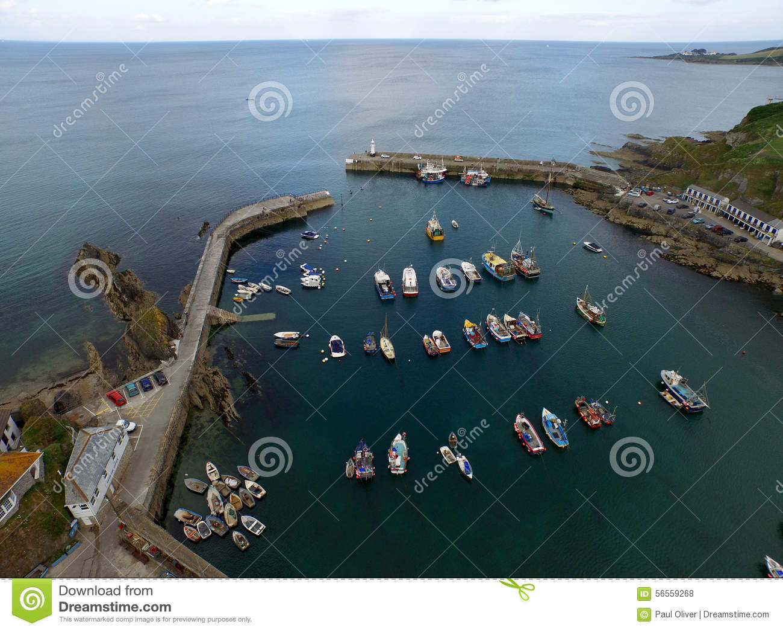 Download Λιμάνι αλιείας Mevergissey στοκ εικόνες. εικόνα από κηφήνας - 56559268