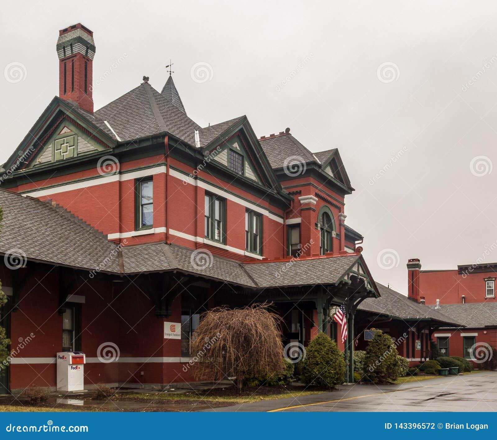 Λιμένας Jervis, Νέα Υόρκη/Ηνωμένες Πολιτείες - 7 Μαρτίου 2017: μια άποψη τοπίων του πρώην σταθμού τρένου Jervis λιμένων του σιδηρ