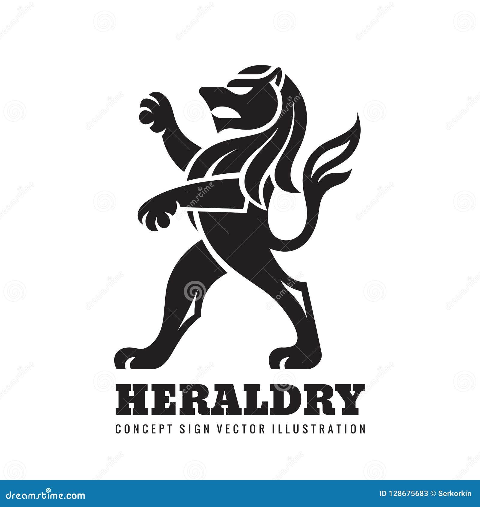 Λιοντάρι που στέκεται στα οπίσθια πόδια του - διανυσματική απεικόνιση προτύπων επιχειρησιακών λογότυπων έννοιας Εραλδικός αριθμός