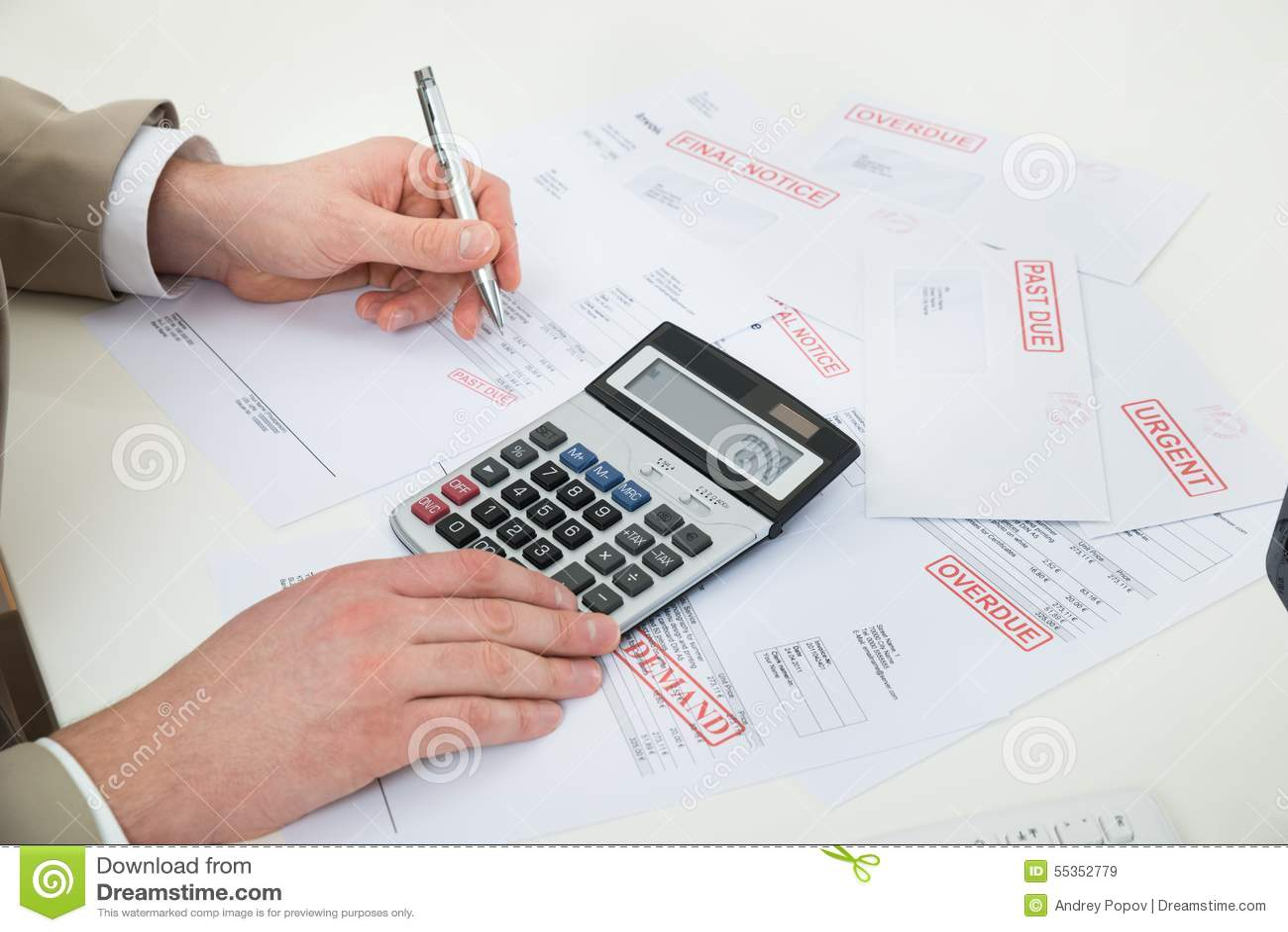 Λογαριασμοί υπολογισμού χεριών Businessperson