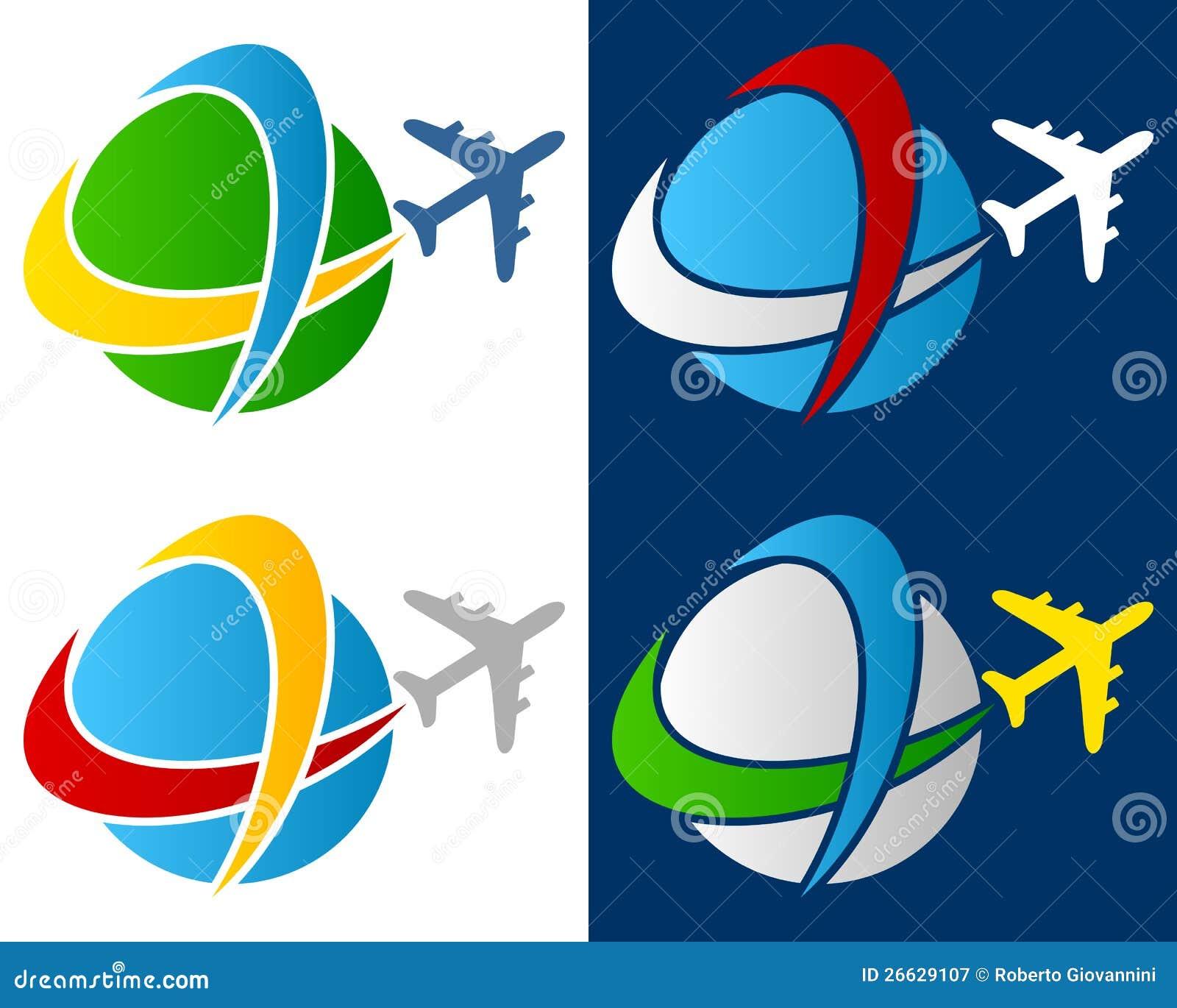 Λογότυπο αεροπλάνων παγκόσμιου ταξιδιού