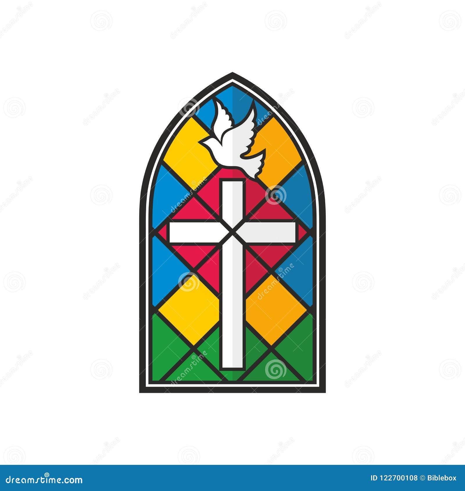 Λογότυπο εκκλησιών Λεκιασμένοι σταυρός και περιστέρι γυαλιού