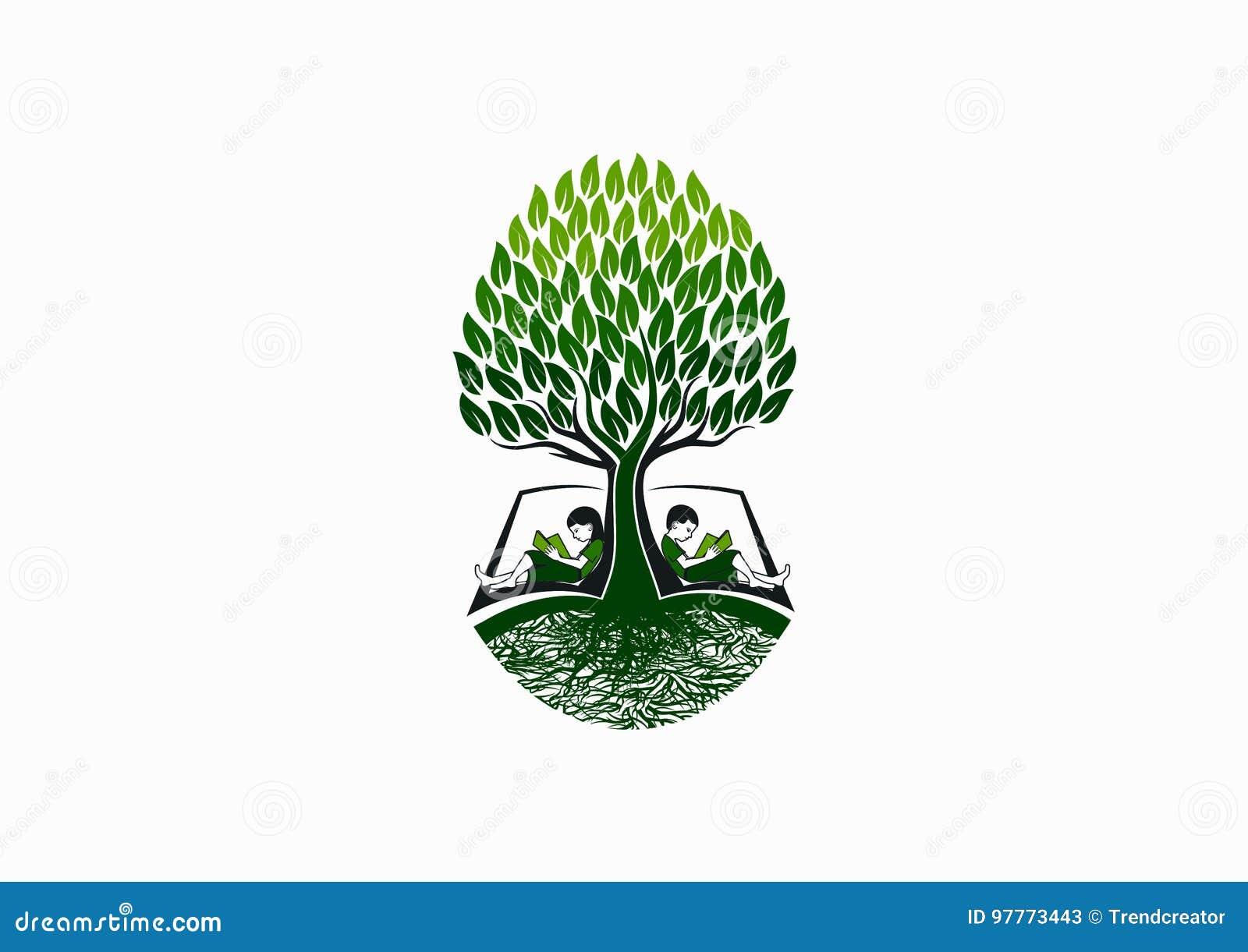 Λογότυπο εκπαίδευσης δέντρων, πρόωρο εικονίδιο αναγνωστών βιβλίων, σύμβολο σχολικής γνώσης και σχέδιο έννοιας μελέτης παιδικής ηλ
