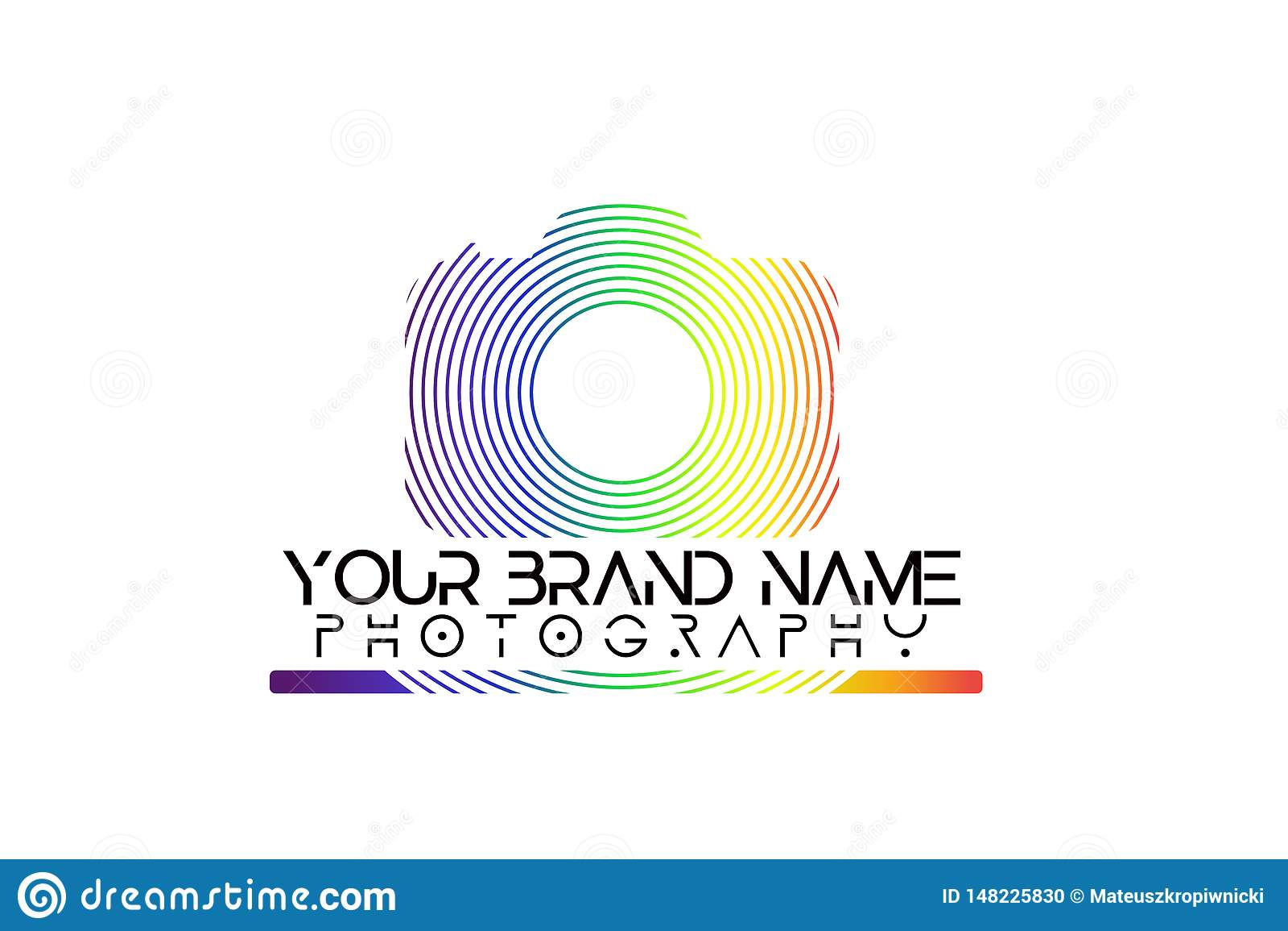 Λογότυπο καμερών ουράνιων τόξων στο άσπρο υπόβαθρο
