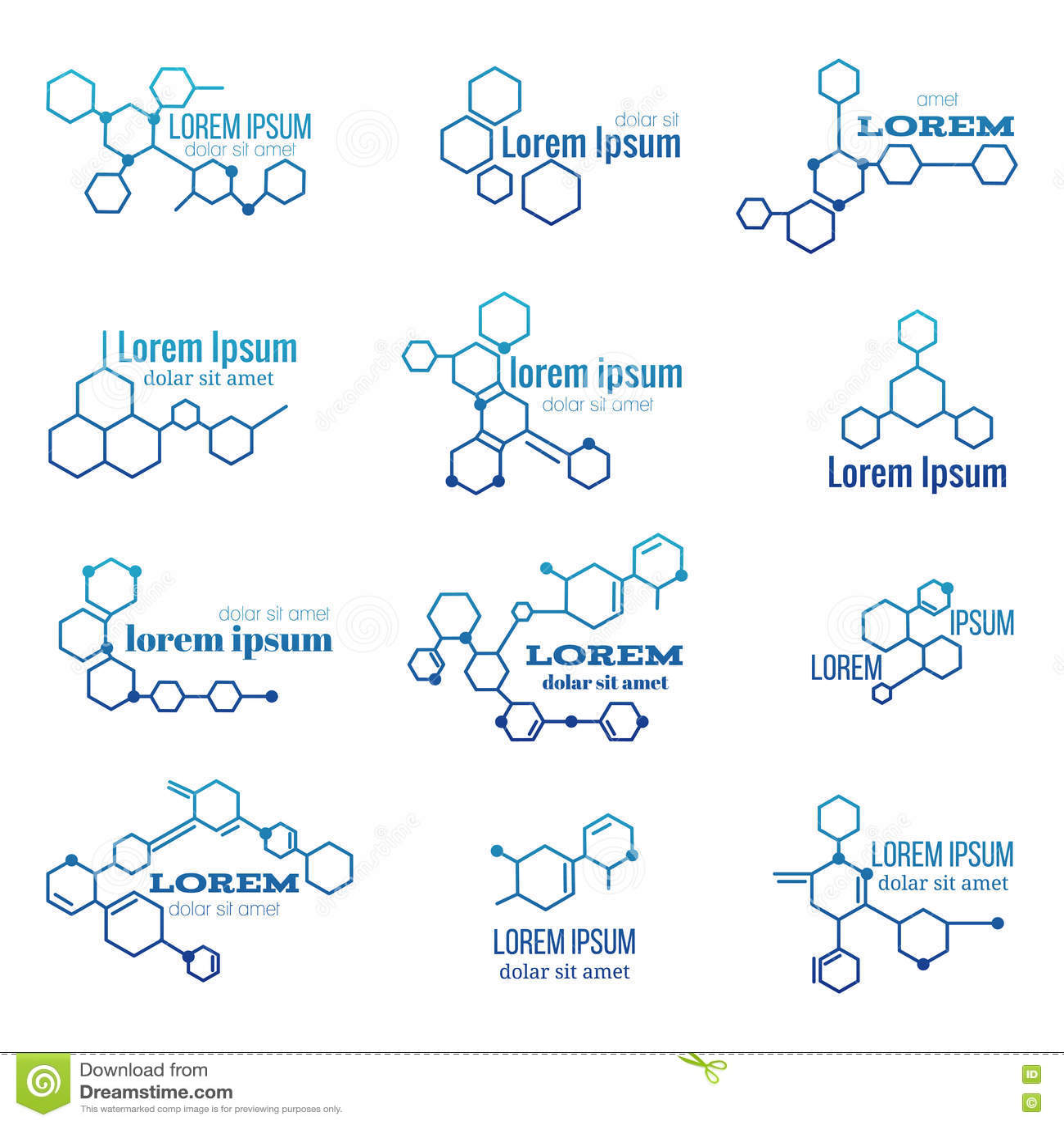 Λογότυπο δομών μορίων ή πρότυπο διανυσματικό σύνολο σημαδιών της βιολογίας