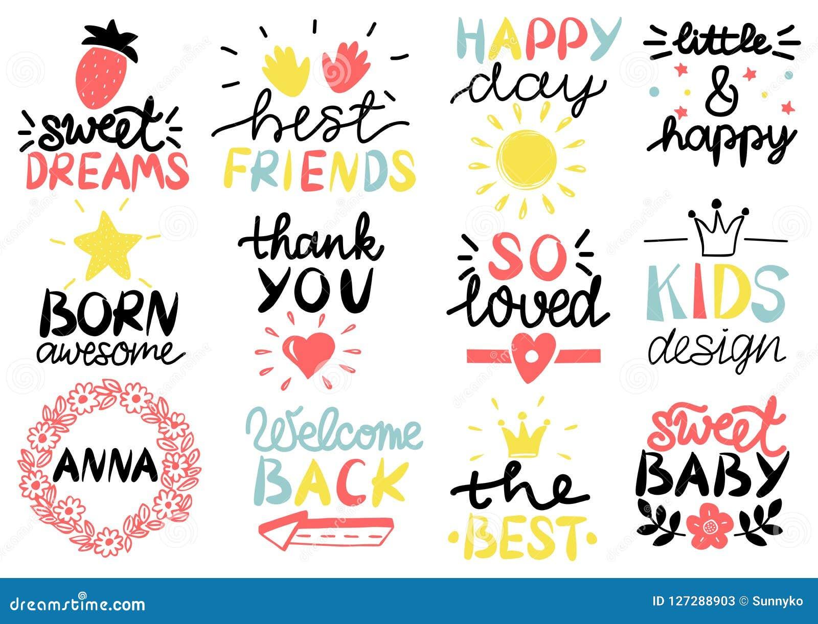 λογότυπο 12 παιδιών s με την ευτυχή ημέρα γραφής γλυκό ονείρων Καλύτεροι φίλοι Γεννημένος τρομερός το δώρο καρτών που απομονώνετα