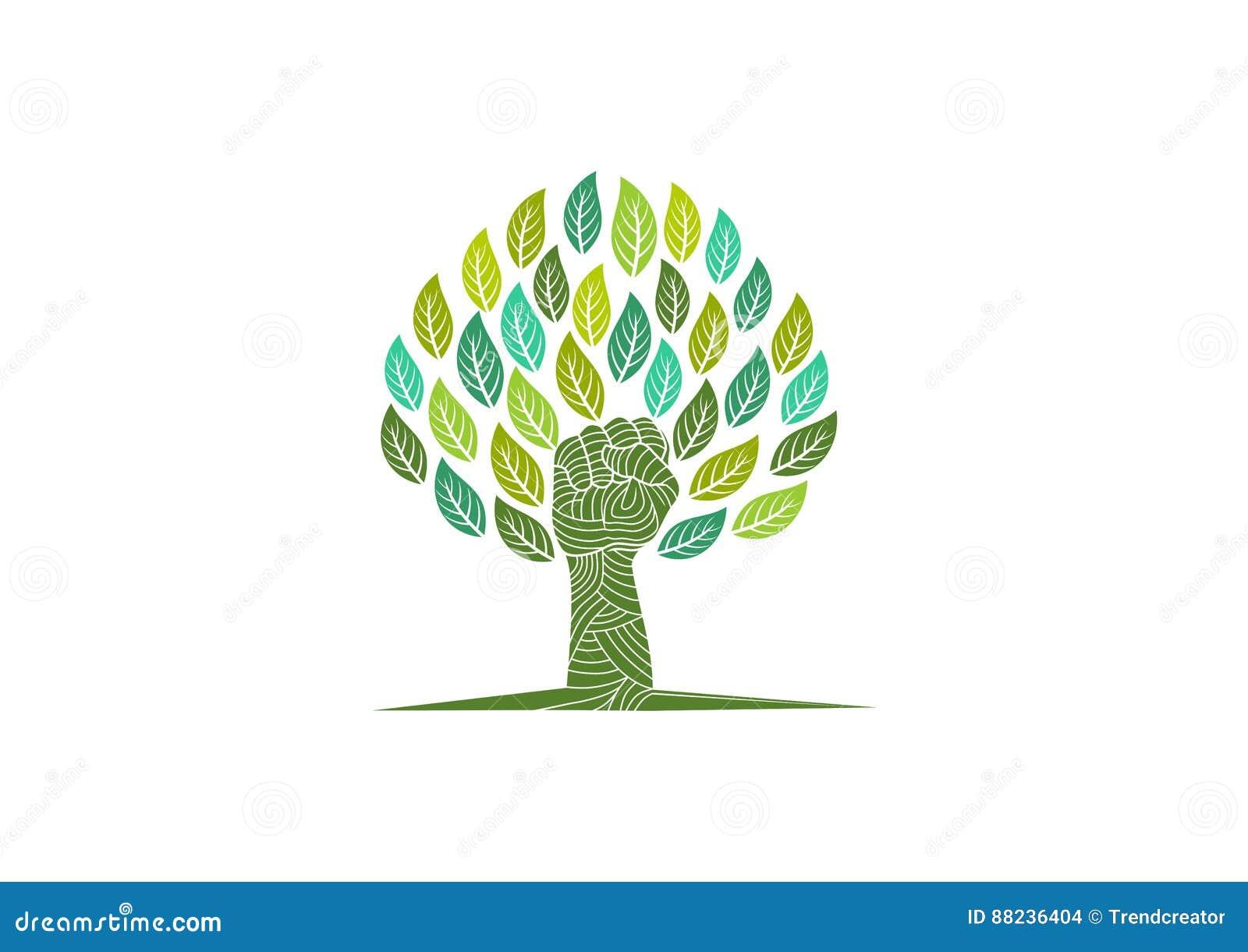 Λογότυπο προσοχής δέντρων, σύμβολο φύσης επαναστάσεων, οργανικό σημάδι εξέγερσης, πράσινη εκπαίδευση και υγιές σχέδιο έννοιας παι