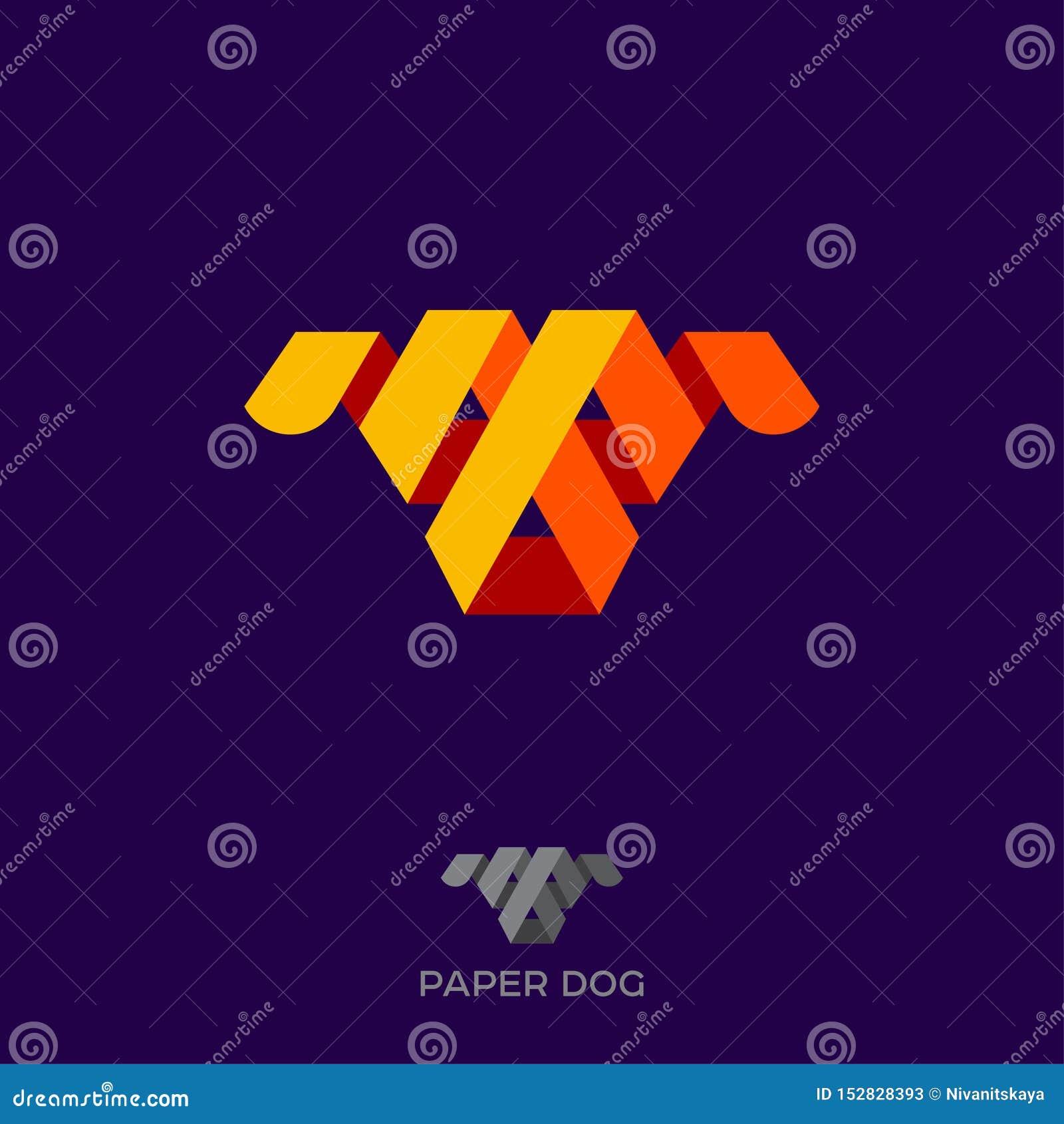 Λογότυπο σκυλιών εγγράφου Πρόσωπο του σκυλιού από τις κορδέλλες χρώματος ή λουρίδες του εγγράφου Εικονίδιο σκυλιών Origami Έμβλημ
