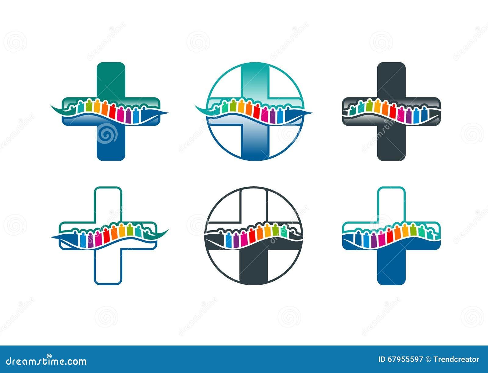 Λογότυπο σπονδυλικών στηλών, σύμβολο σπονδυλικών στηλών και chiropractic σχέδιο έννοιας