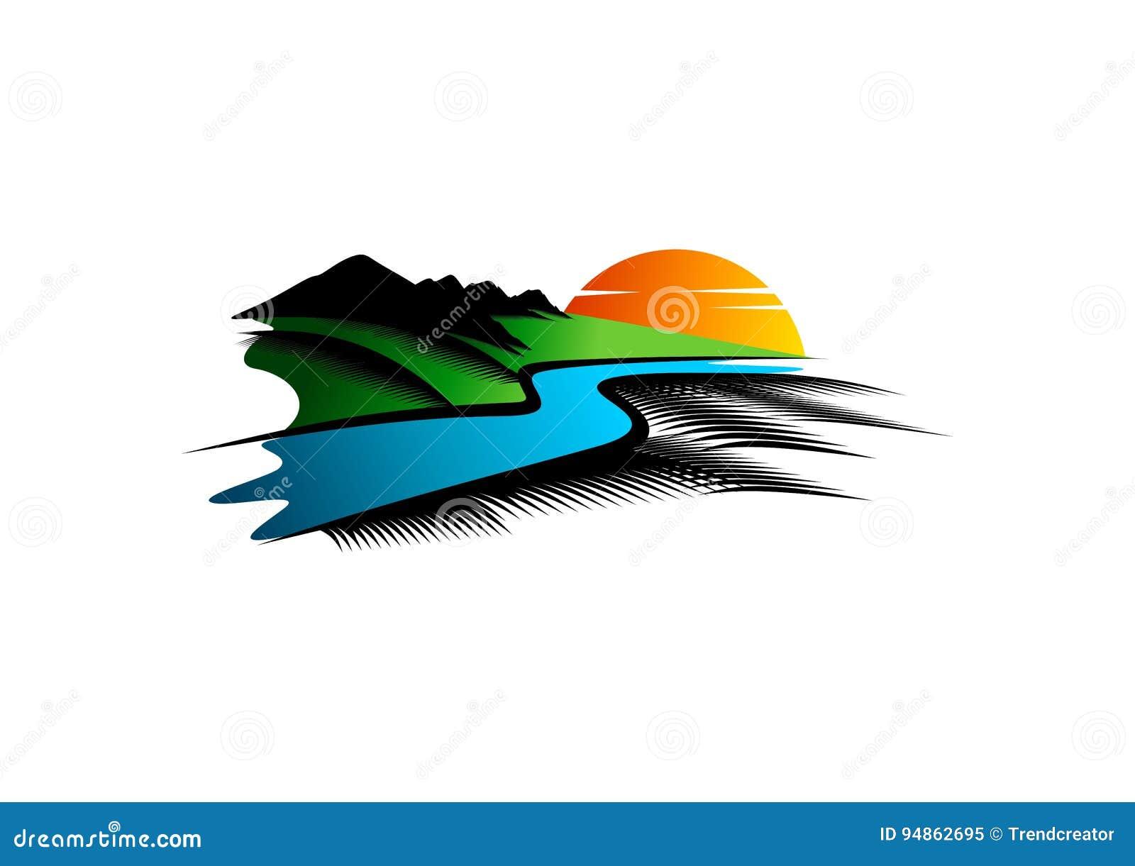 Λογότυπο τοπίων, σύμβολο ποταμών, απεικόνιση βουνών, εικονίδιο φύσης parkland και σχέδιο έννοιας άποψης