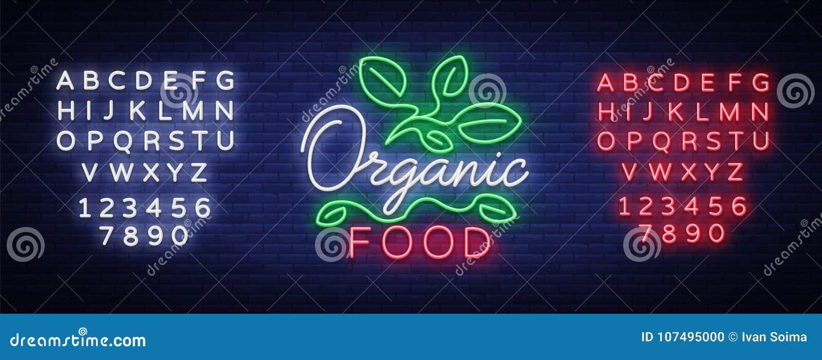 Λογότυπο Vegan στο ύφος νέου Σύμβολο νέου, φωτεινό φωτεινό σημάδι, νύχτα νέου που διαφημίζει, χορτοφάγα τρόφιμα, οργανικά τρόφιμα