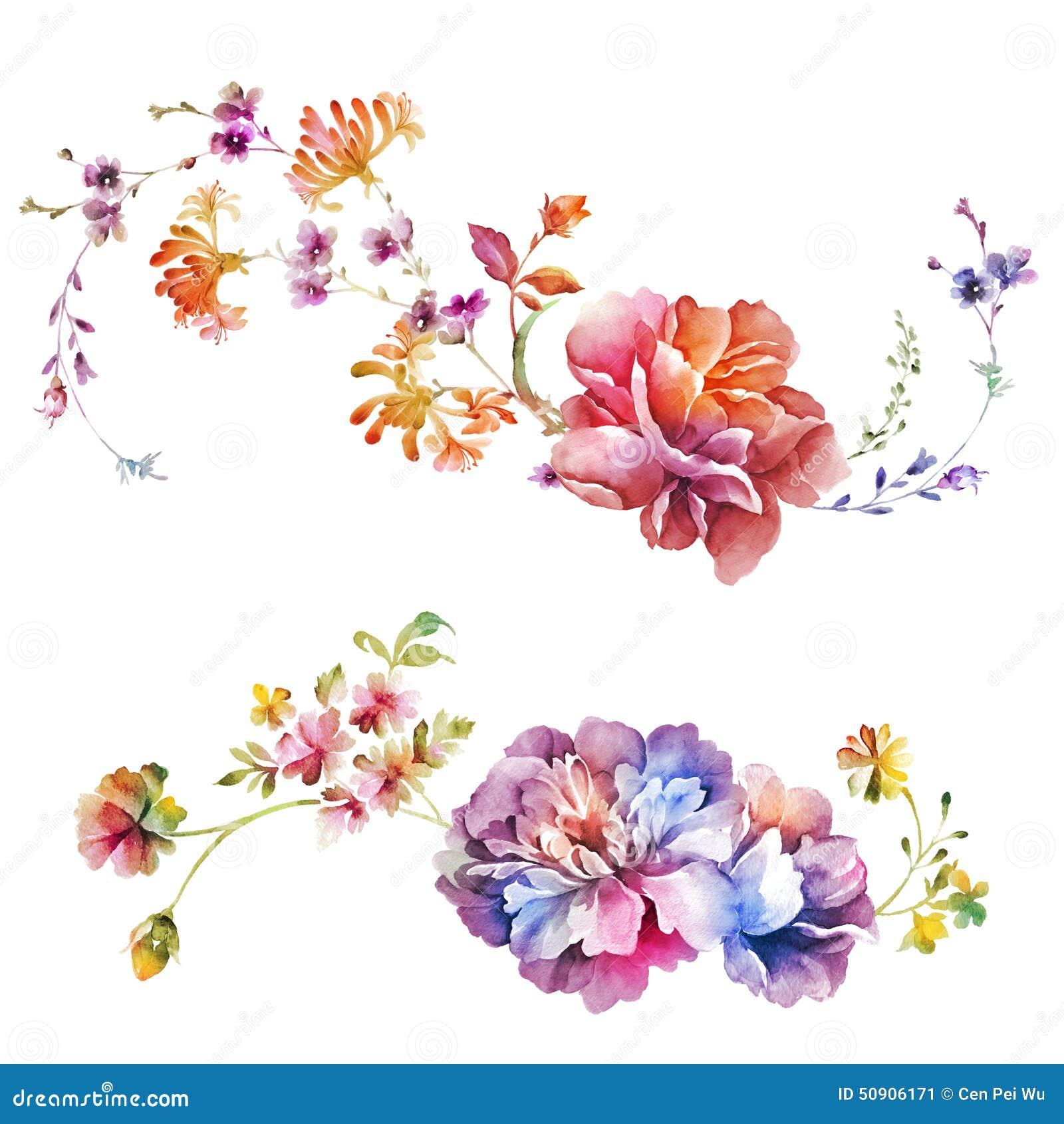 Λουλούδι απεικόνισης Watercolor στο απλό υπόβαθρο