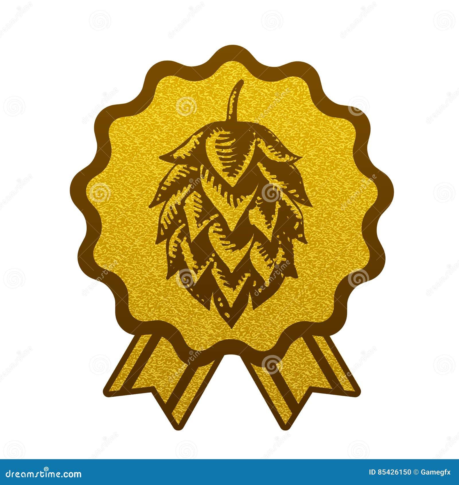 Λυκίσκου χρυσή ζυθοποιείων μπύρας ετικέτα λογότυπων συμβόλων σημαδιών Ιστού εικονιδίων επίπεδη