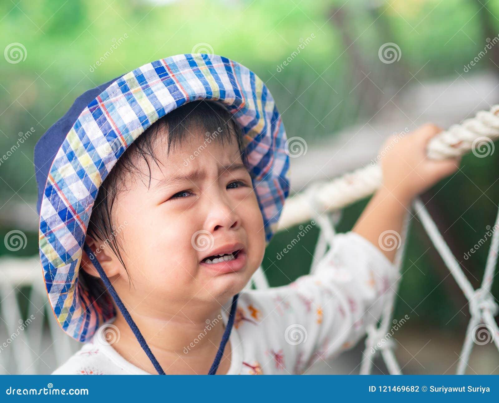 Λυπημένο φωνάζοντας πρόσωπο μικρών κοριτσιών στο υπόβαθρο bokeh με τον τρύγο fil