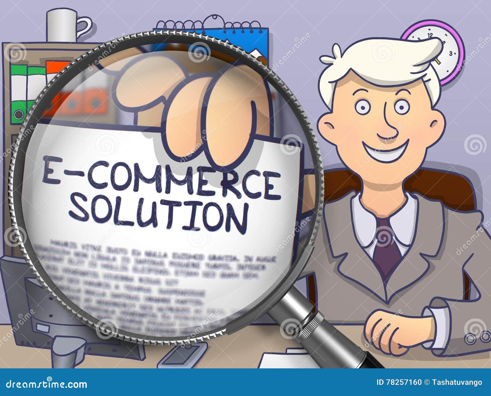 Λύση ηλεκτρονικού εμπορίου μέσω της ενίσχυσης - γυαλί Σχέδιο Doodle