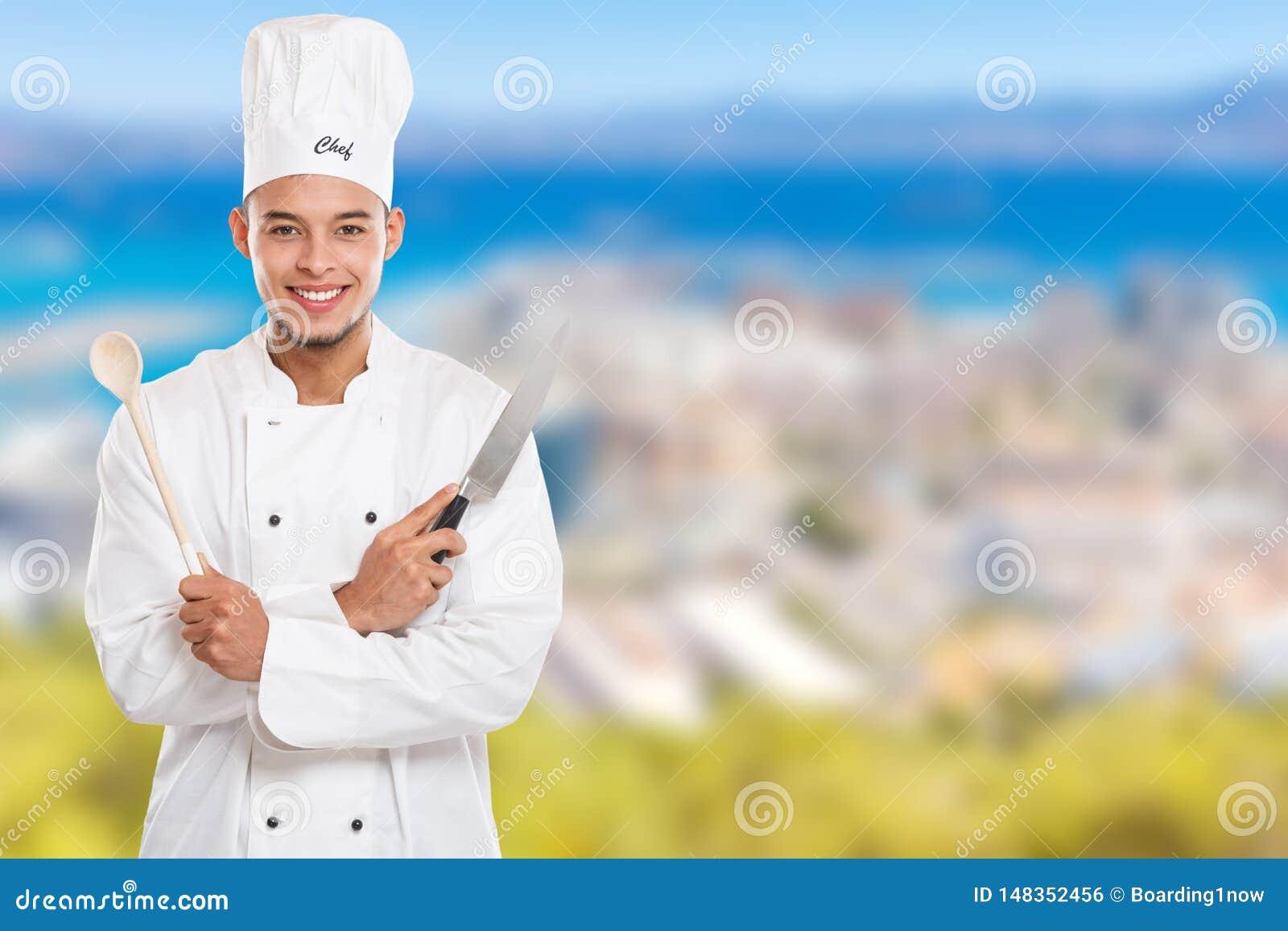Μάγειρας που μαγειρεύει το αρσενικό διάστημα αντιγράφων εργασίας νεαρών άνδρων copyspace