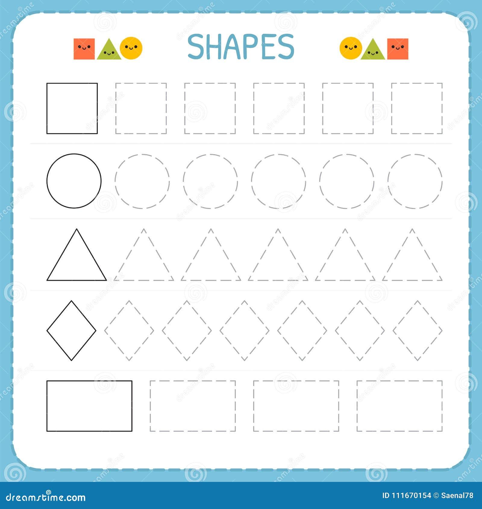 Μάθετε τις μορφές και τους γεωμετρικούς αριθμούς Φύλλο εργασίας παιδικών σταθμών ή παιδικών σταθμών για την άσκηση των δεξιοτήτων