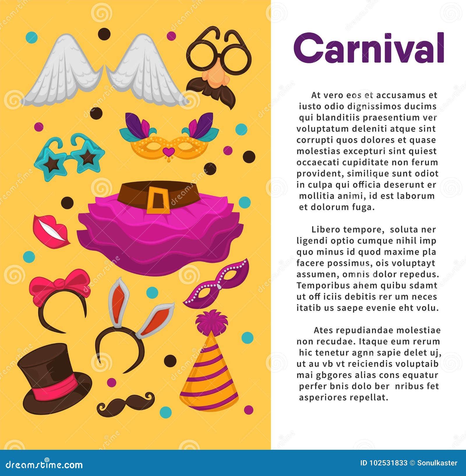 Μάσκες καρναβαλιού και βοηθητικό διανυσματικό πρότυπο αφισών κοστουμιών