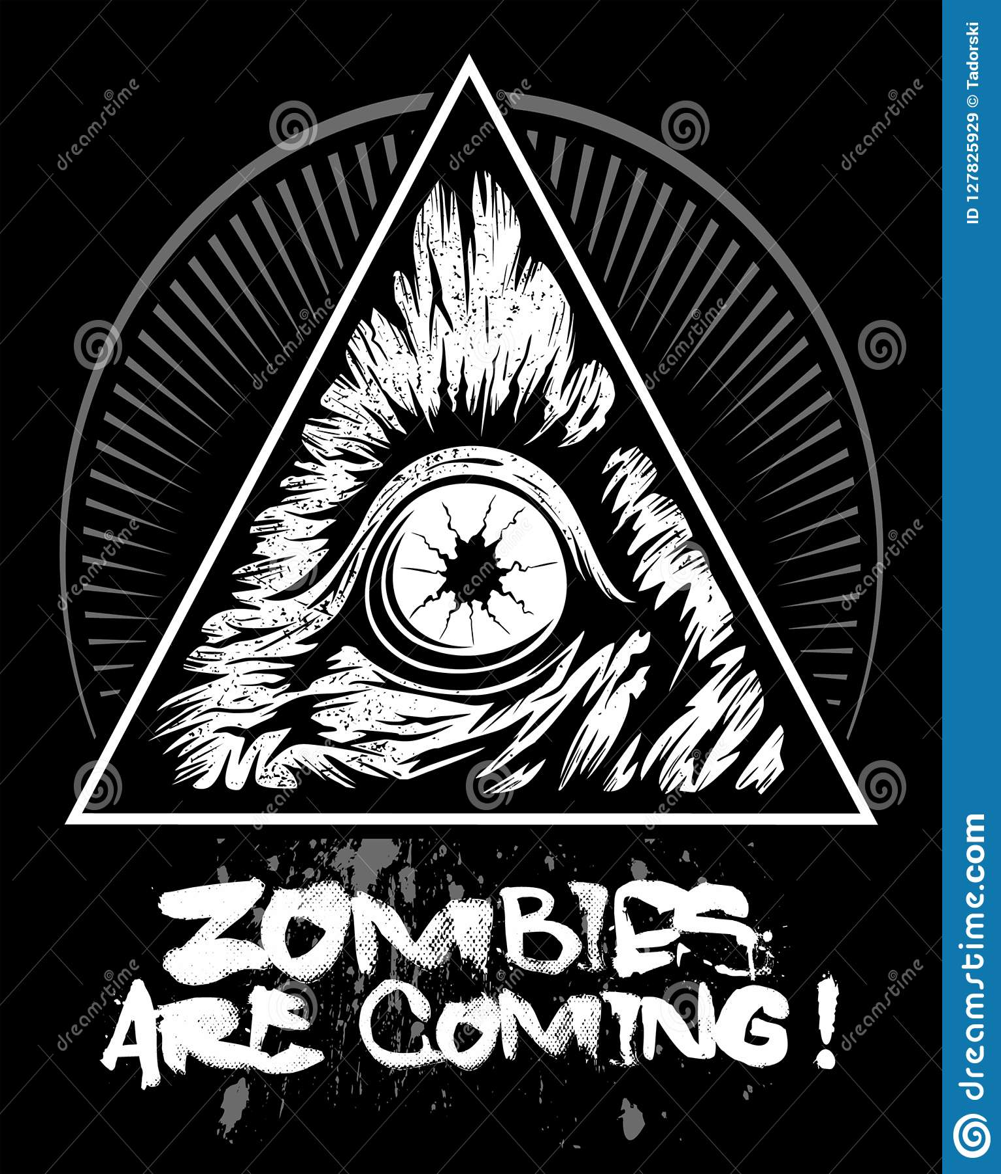 Μάτι Zombie με το τρίγωνο, διανυσματικό λογότυπο