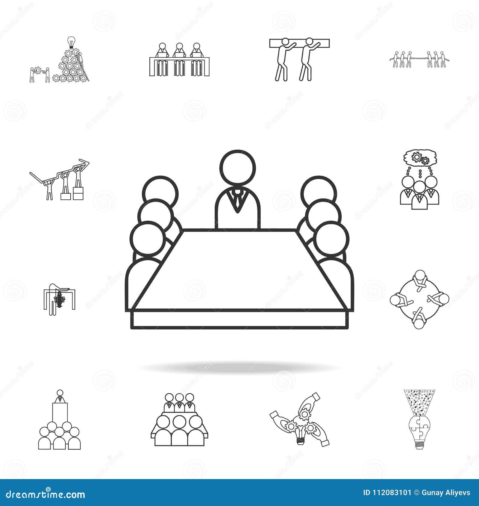Μέλη δωματίων πινάκων που κάθονται ένα επιτραπέζιο εικονίδιο Λεπτομερές σύνολο εικονιδίων περιλήψεων εργασίας ομάδων Γραφικό εικο