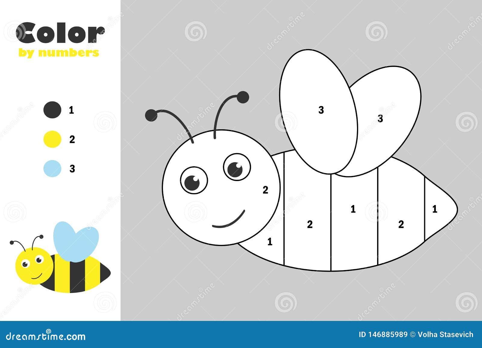 Μέλισσα στο ύφος κινούμενων σχεδίων, χρώμα από τον αριθμό, παιχνίδι εγγράφου εκπαίδευσης για την ανάπτυξη των παιδιών, χρωματίζον