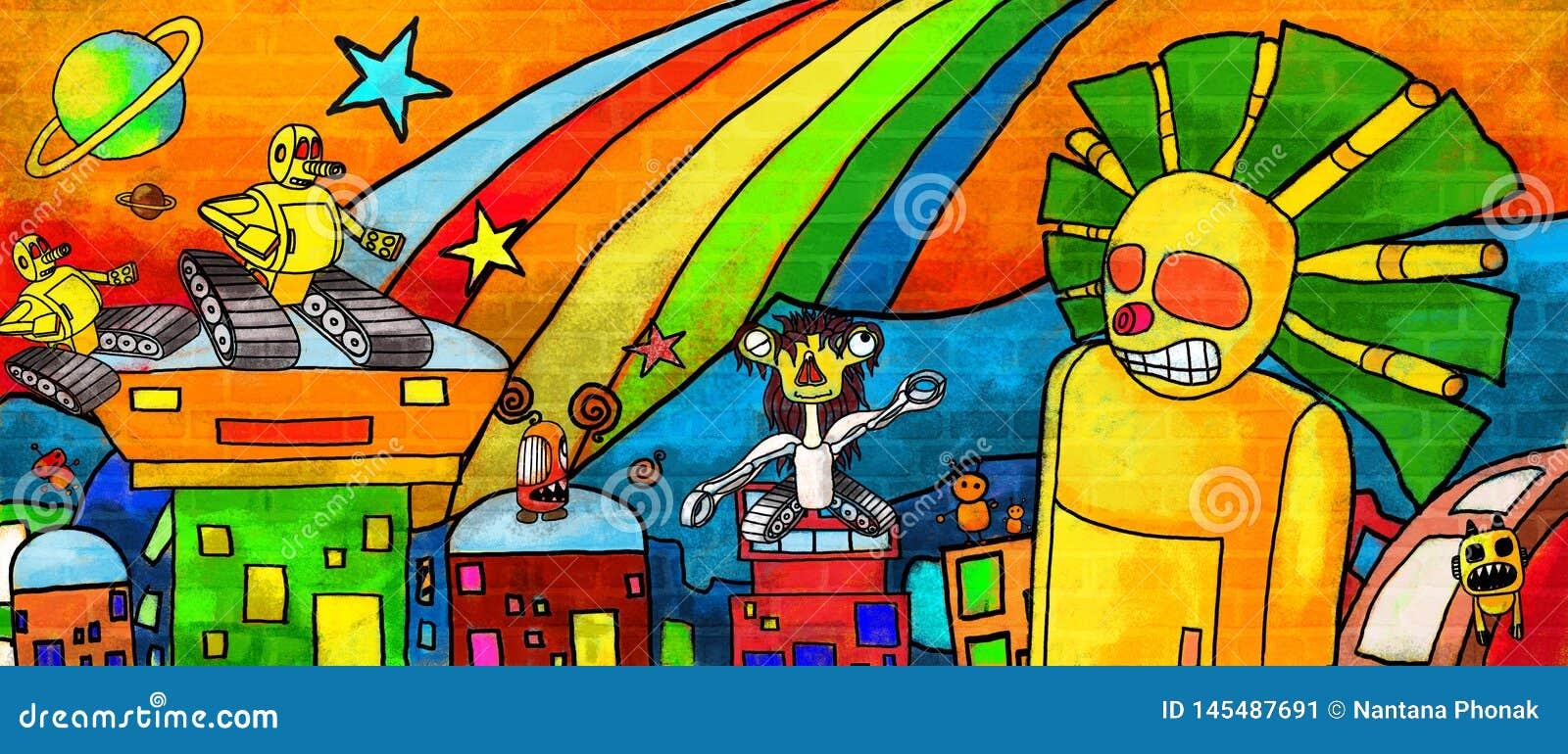 Μέλλον τεράτων πόλεων ο ζωηρόχρωμος τοίχος χρωμάτων