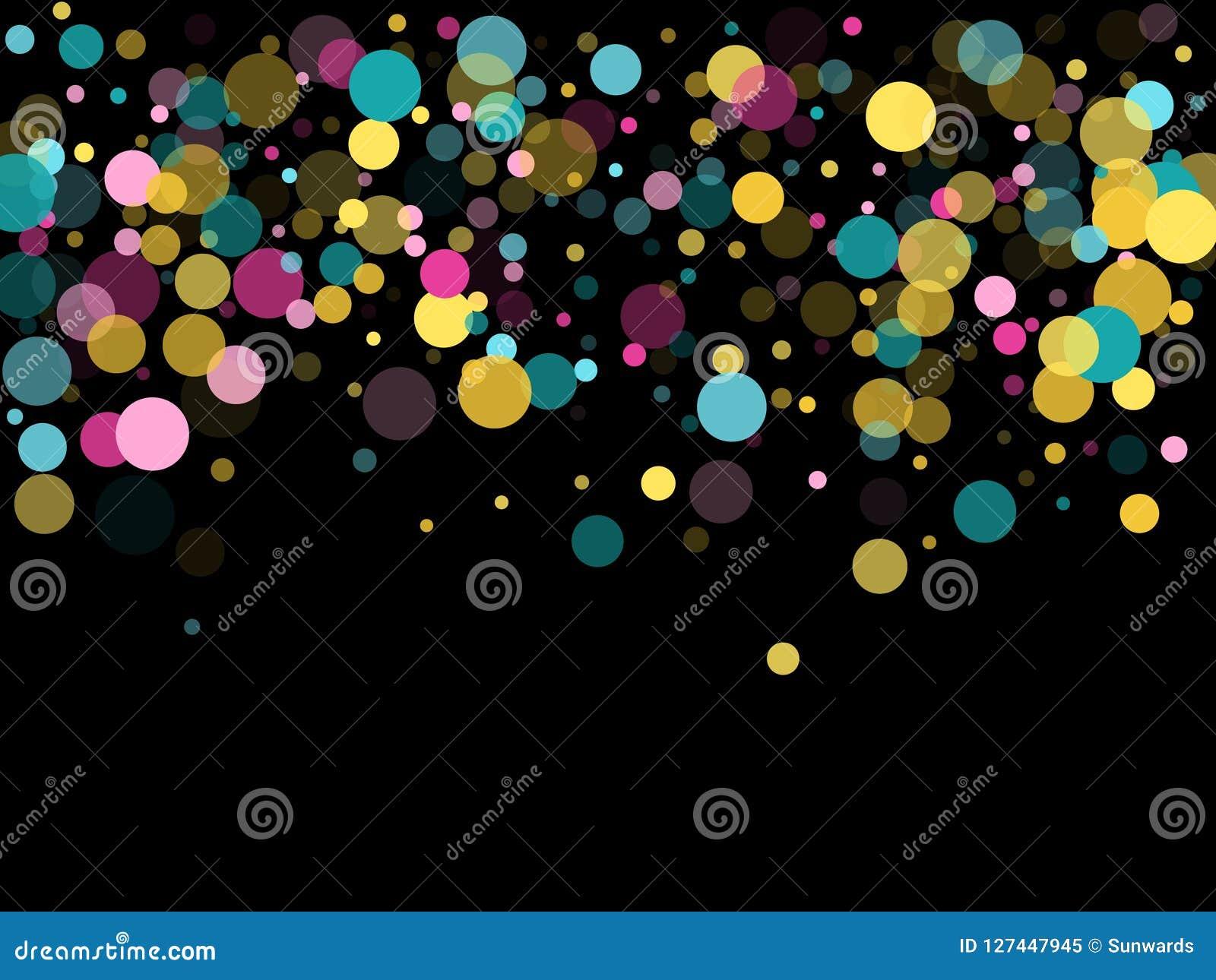 Μέμφιδα γύρω από το εορταστικό υπόβαθρο κομφετί κυανός μπλε, ρόδινος και κίτρινος Παιδαριώδες διάνυσμα σχεδίων