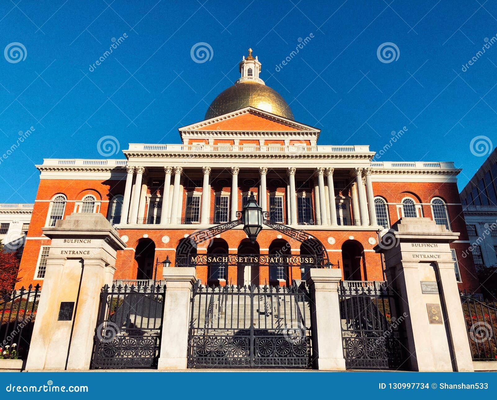 Μέτωπο κρατικών σπιτιών της Μασαχουσέτης εξωτερικό στη Βοστώνη