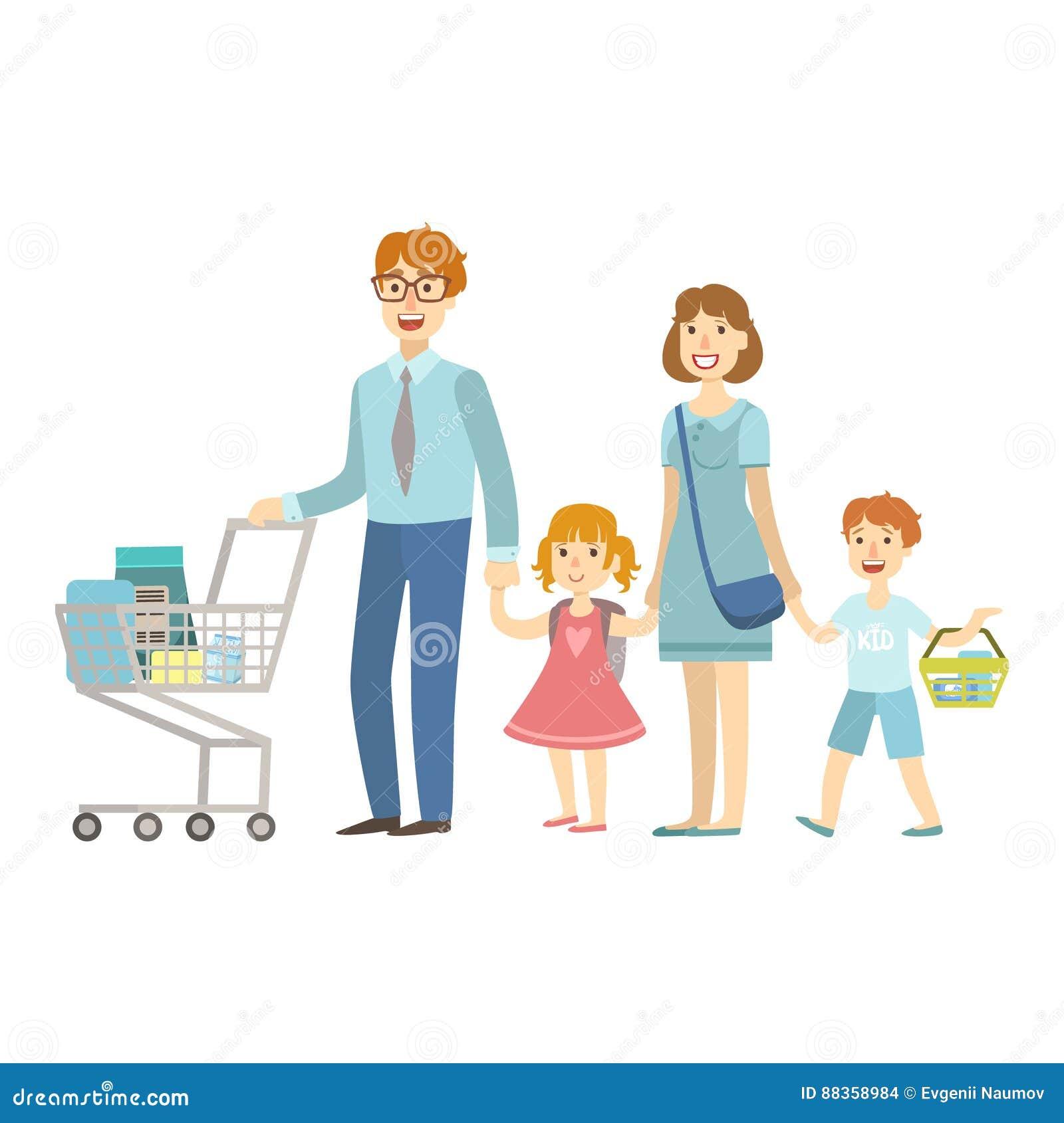 Μέλη τετραμελών οικογενειών που ψωνίζουν στην υπεραγορά, απεικόνιση από την ευτυχή οικογενειακή σειρά αγάπης